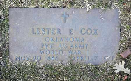COX (VETERAN WWI), LESTER E - Washington County, Oklahoma | LESTER E COX (VETERAN WWI) - Oklahoma Gravestone Photos