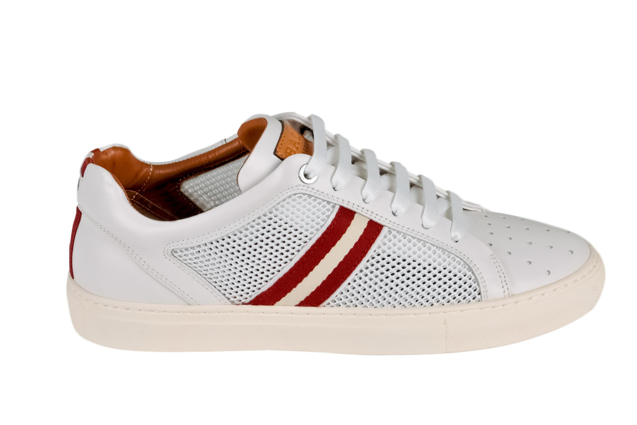 Herk White, Mens calf leather and mesh low-top sneaker in white Bally