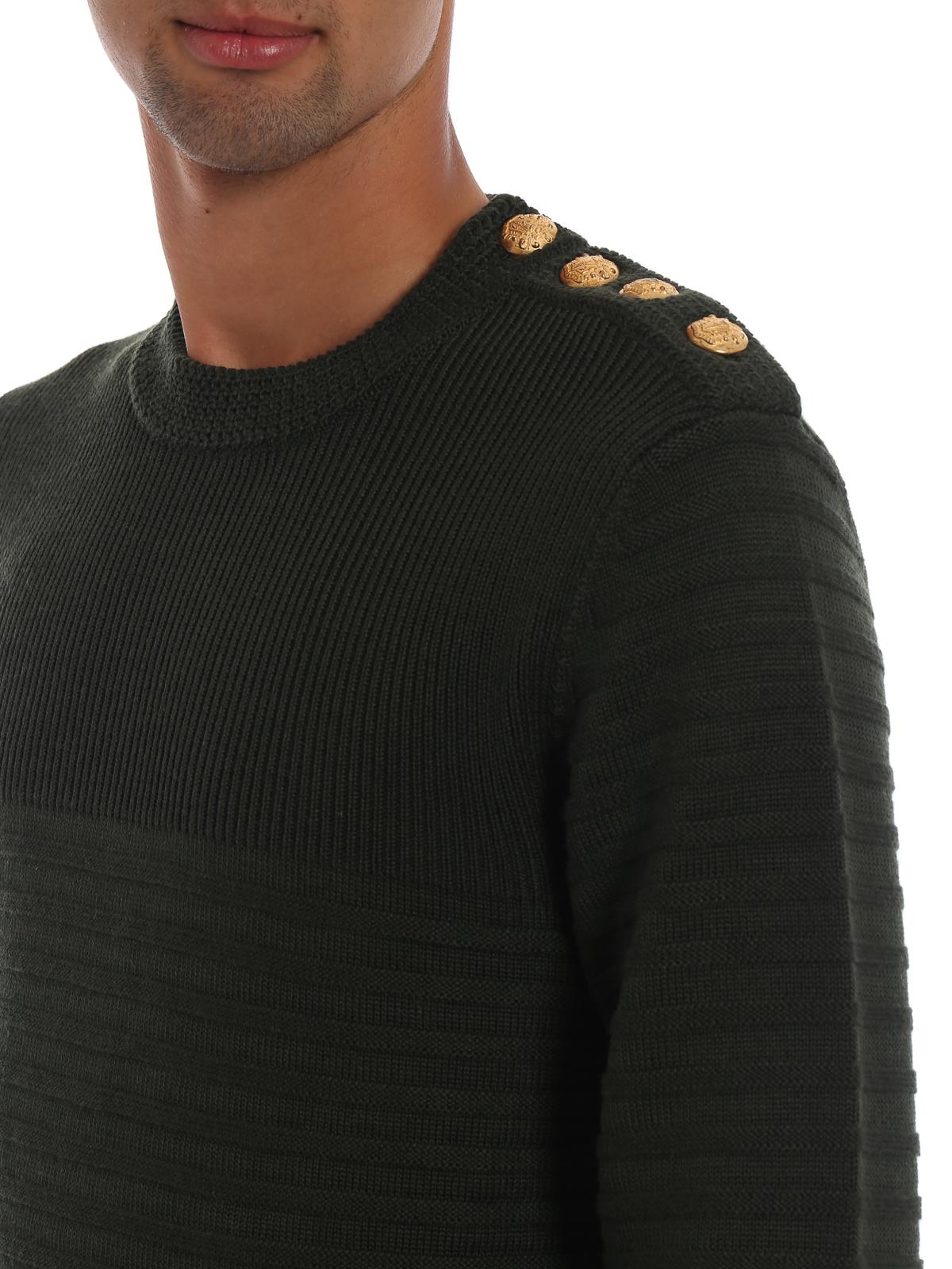 Girocollo lavorazione a righe e bottoni oro DONDUP   20000006   UM882M00578XXXDU633