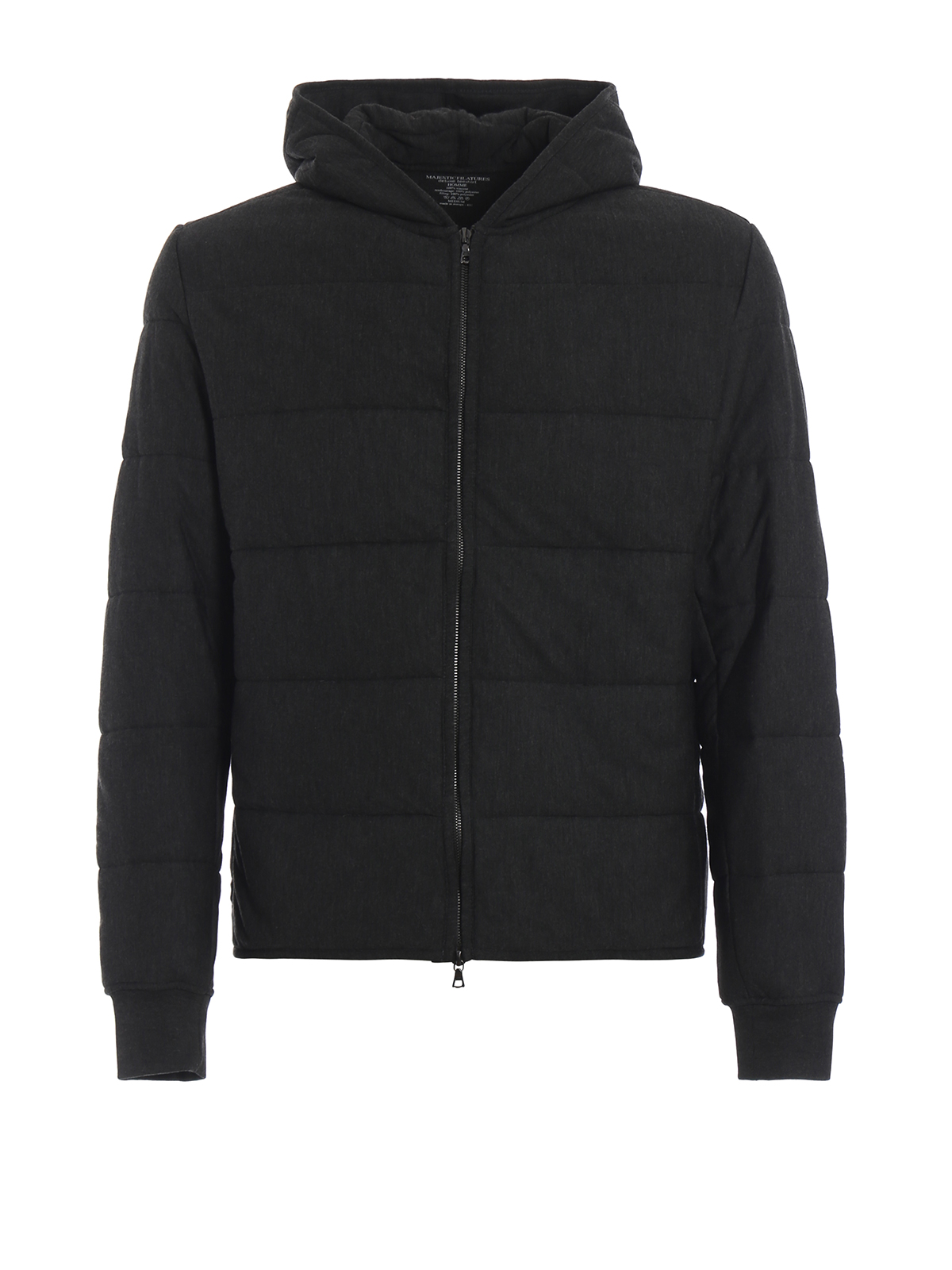 Charcoal slightly padded hooded sweat jacket