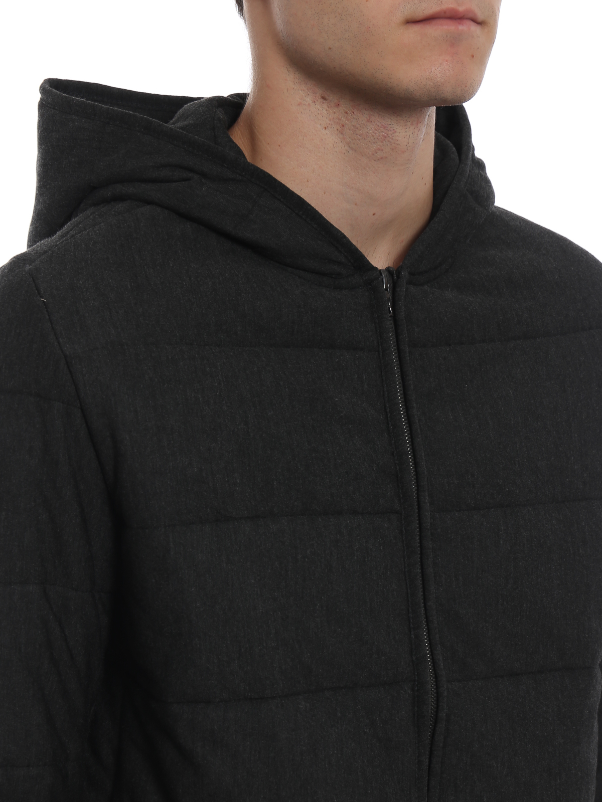 Charcoal slightly padded hooded sweat jacket MAJESTIC | -108764232 | J521HSW010088
