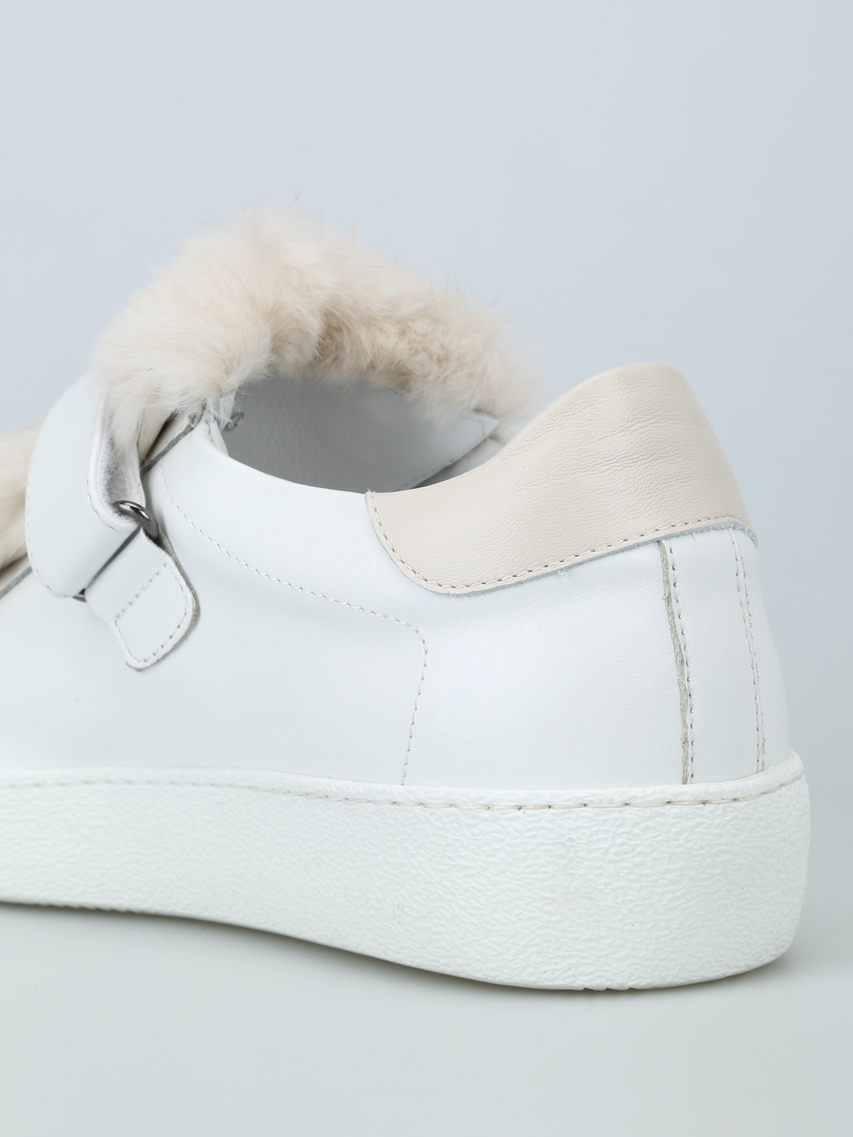 Lucie mink fur tongue leather sneakers MONCLER | 5032238 | 2016000019S9004