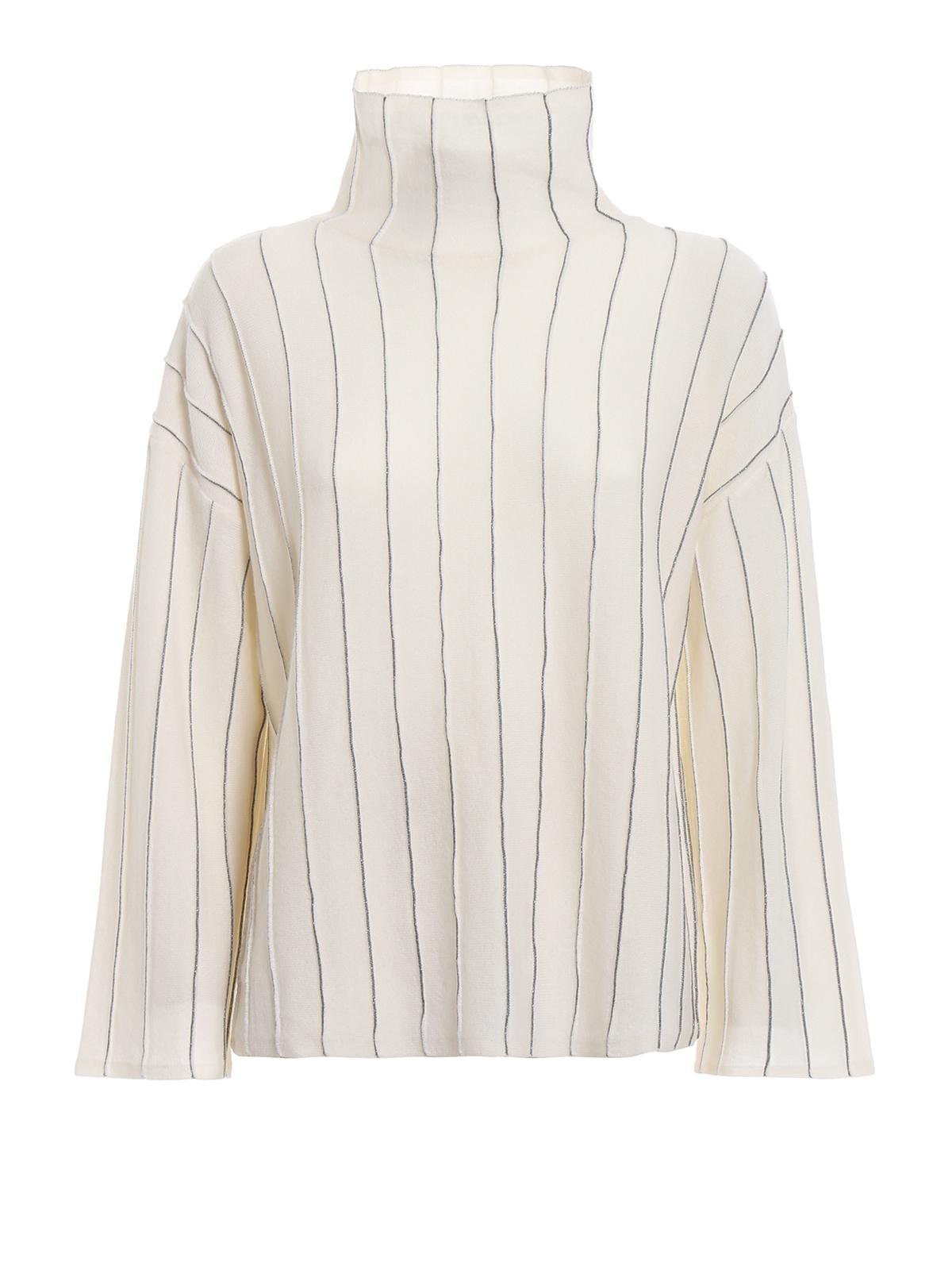03d0da34d Pinstriped merino wool boxy off white sweater - PAOLO FIORILLO CAPRI -  Paolo Fiorillo