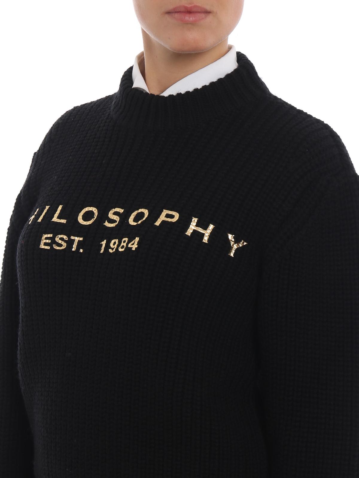Gold-tone logo print black wool sweater PHILOSOPHY di LORENZO SERAFINI | 1 | 09145707A2555