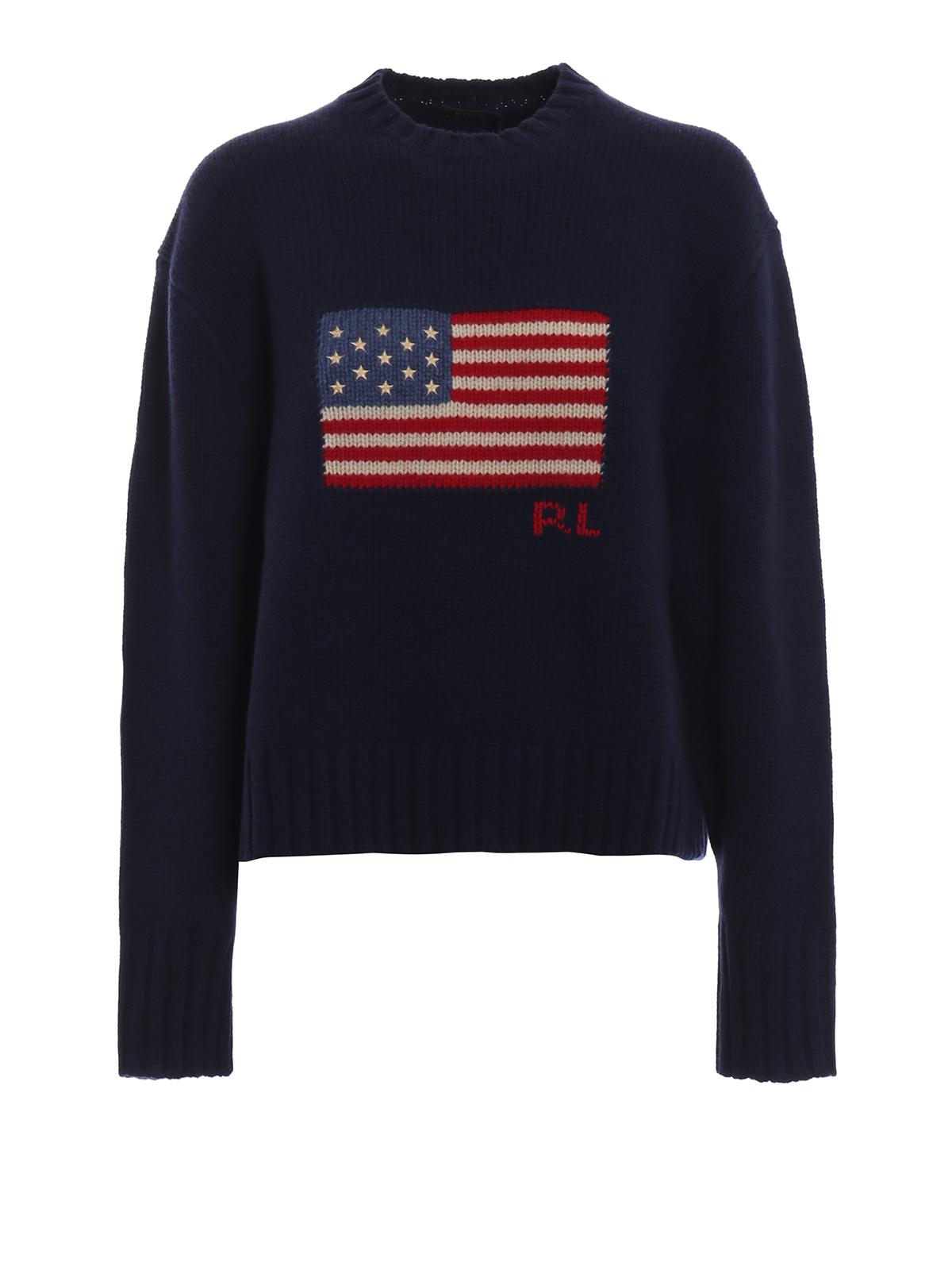innovative design 032a6 241b9 American flag intarsia wool boxy sweater