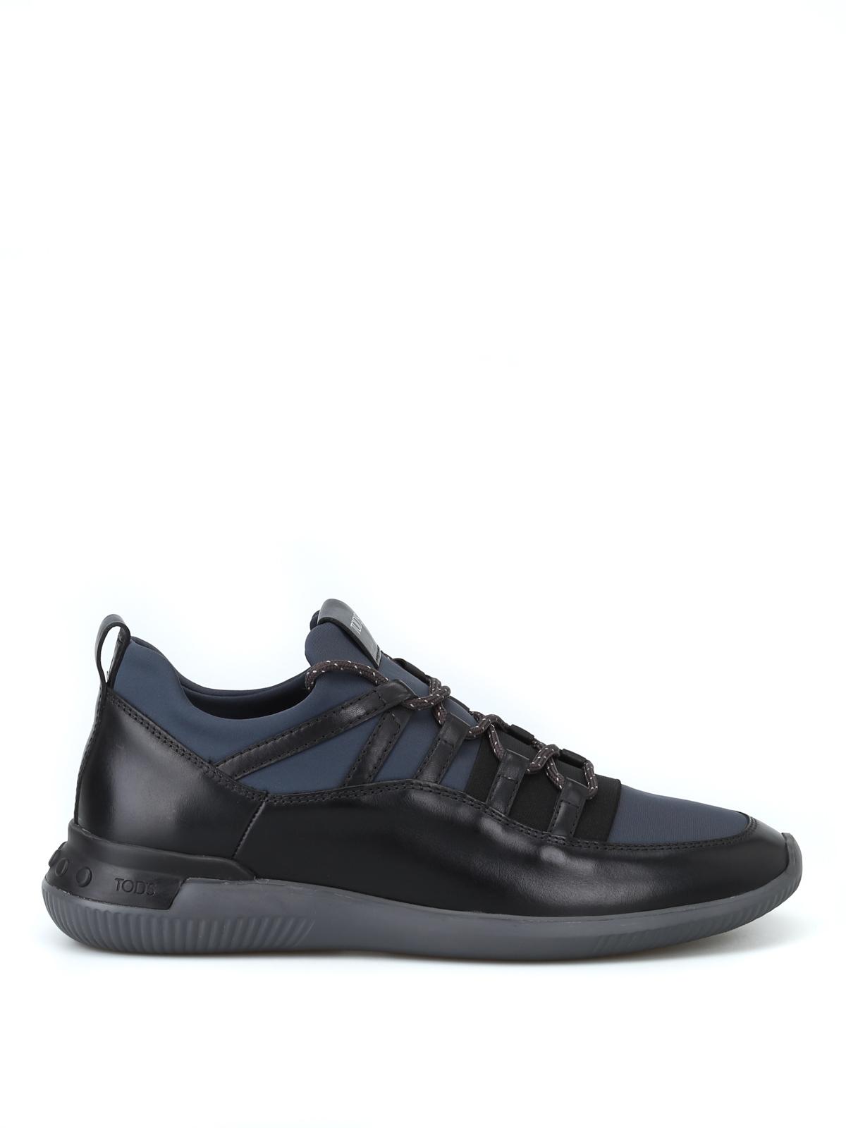 57f49e0fcddb83 No-Code sneakers in leather and scuba-effect fabric - TOD S - Paolo Fiorillo