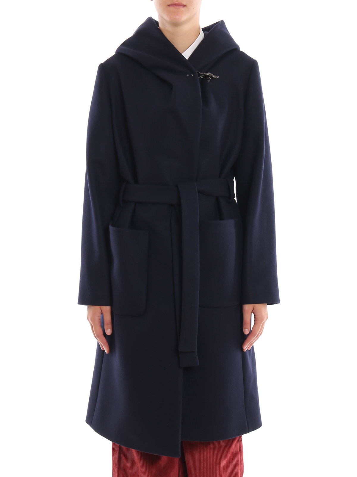 Blue wool and cashmere hooded coat FAY | 17 | NAW54393570RCPU807