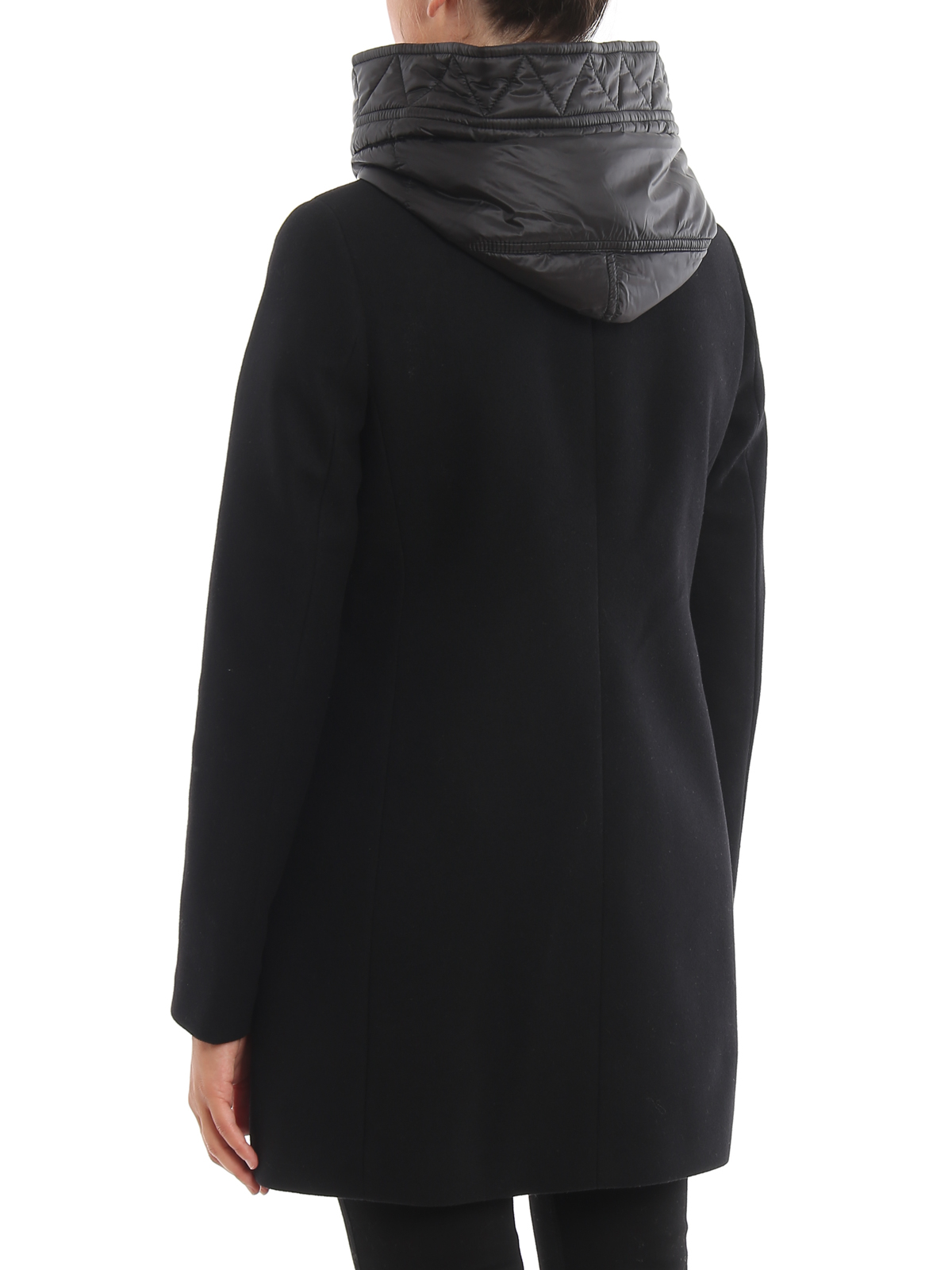 Double front hooded black coat