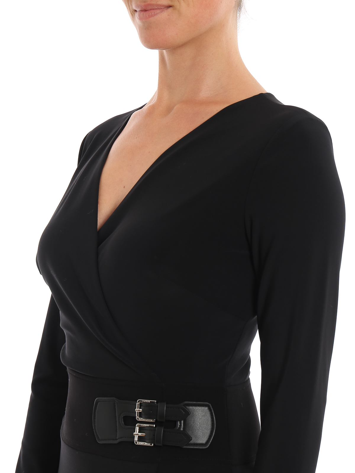 Double buckle jersey dress
