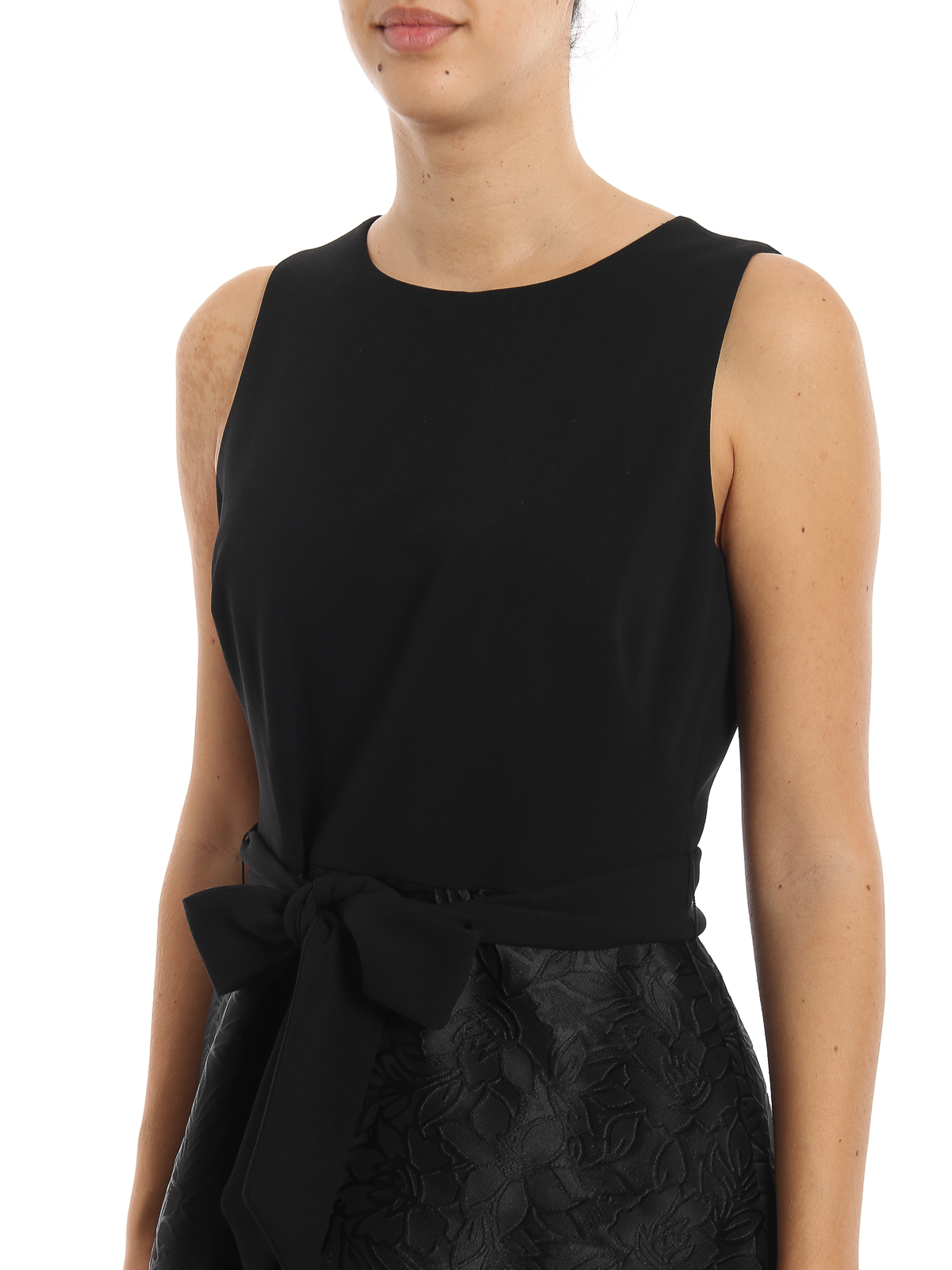 Belted black damask dress RALPH LAUREN | 11 | 253756526001BLACK