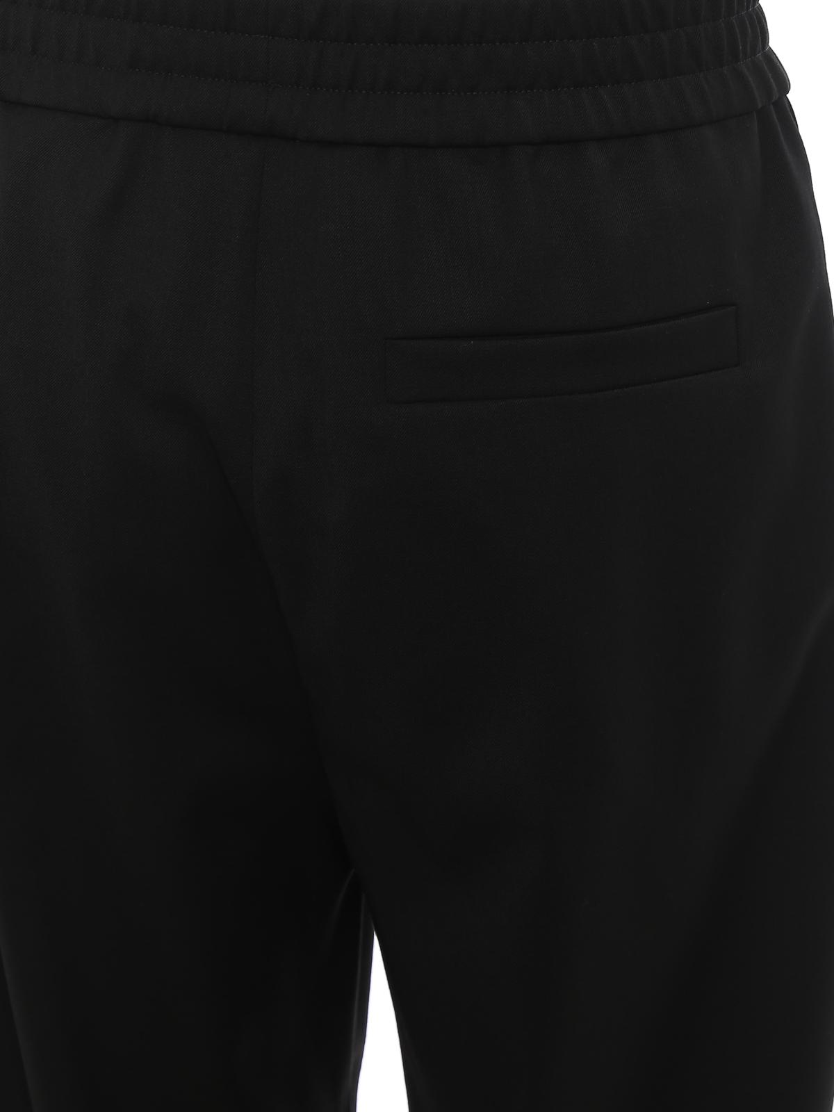 Pantaloni in misto lana con bande logo MOSCHINO | 20000005 | 03395247A1555