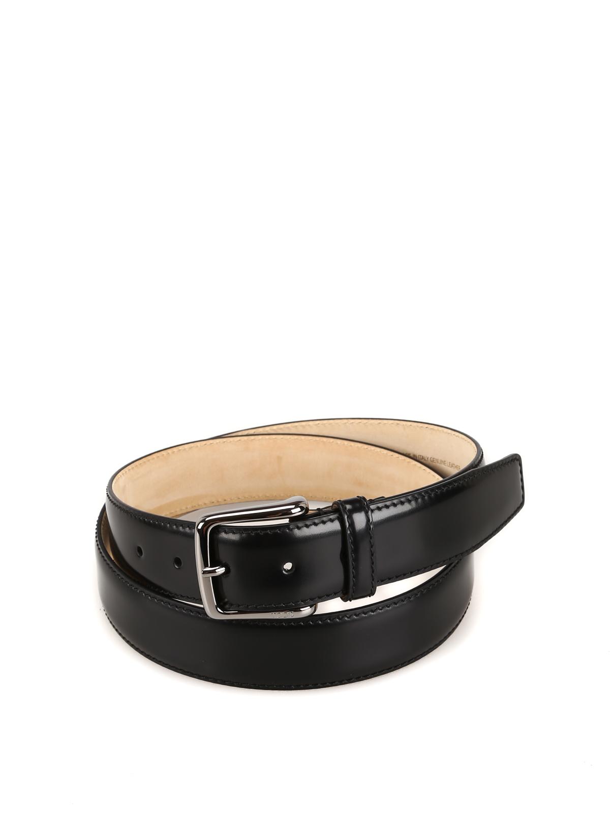 Black smooth leather belt  TOD