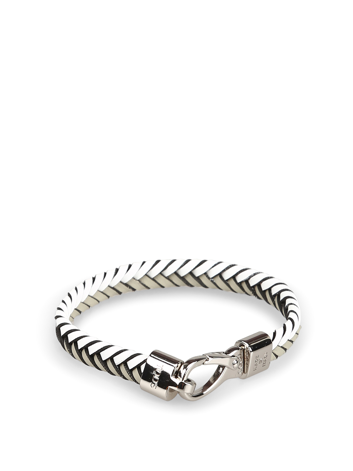 White and grey woven leather flat bracelet TOD