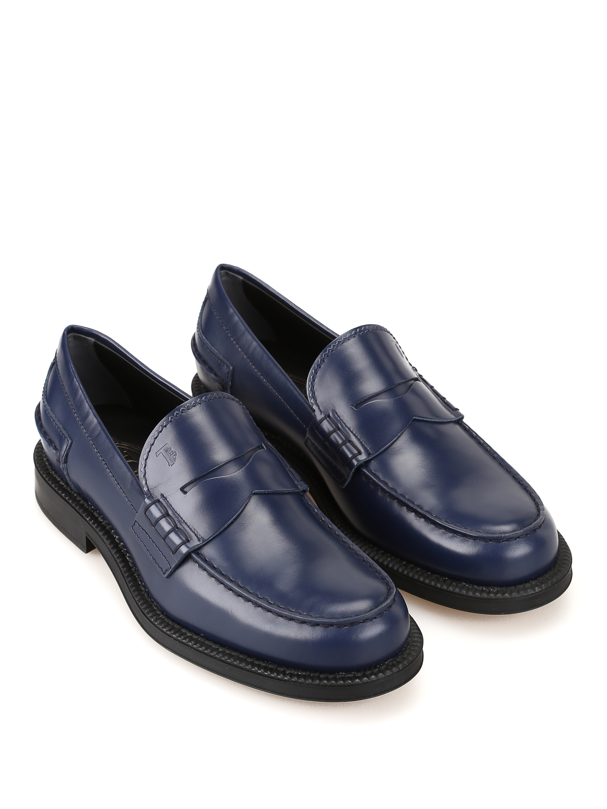 Blue leather loafers TOD