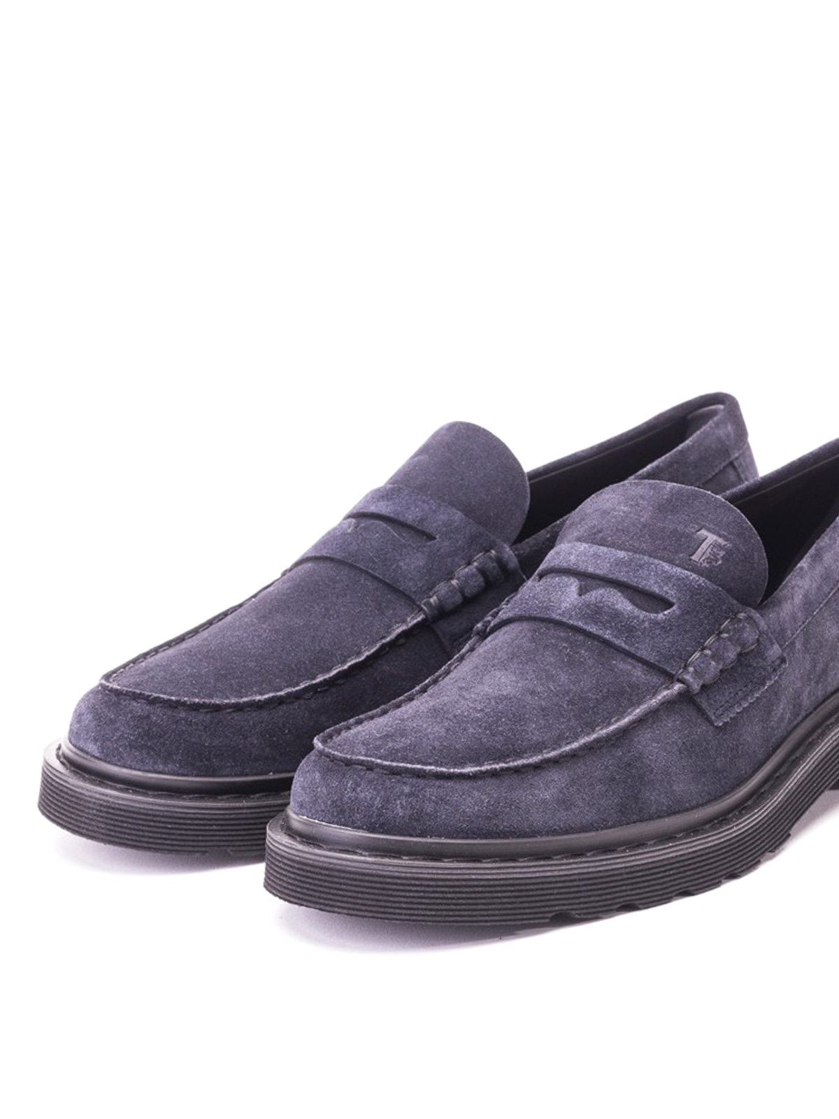 Lug sole blue suede loafers