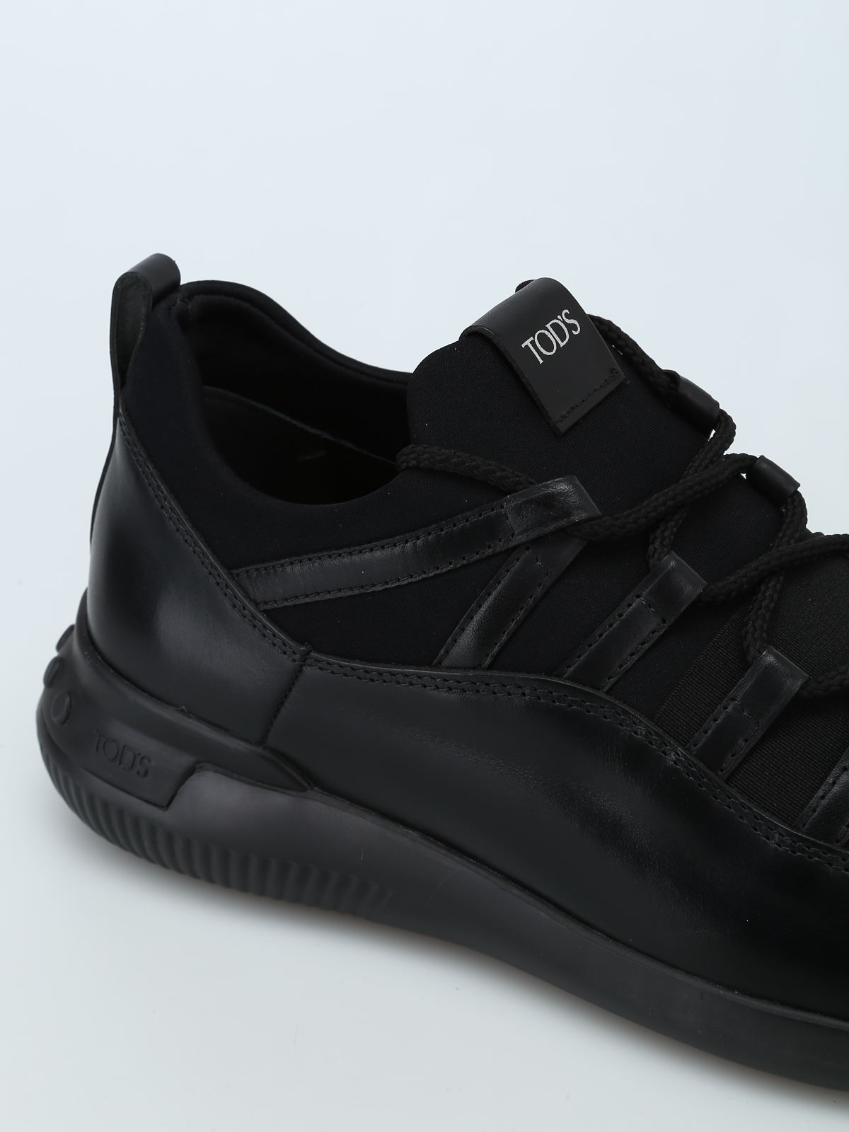 No-Code sneakers in leather and scuba-effect fabric  TOD