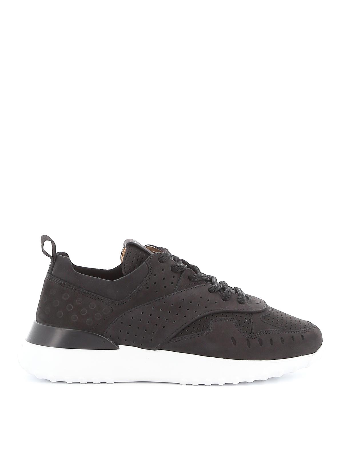 Black perforated nubuck sneakers TOD