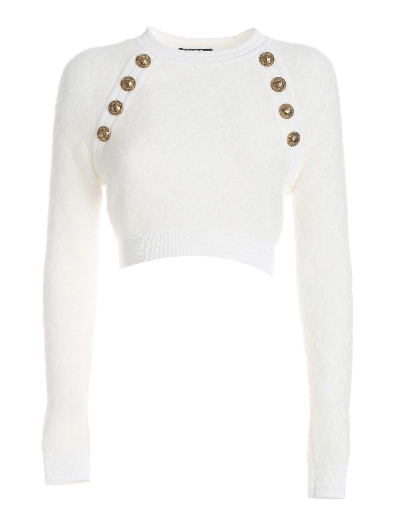 BUTTONS CROP PULLOVER IN WHITE BALMAIN | -1384759495 | UF03127K1130FA