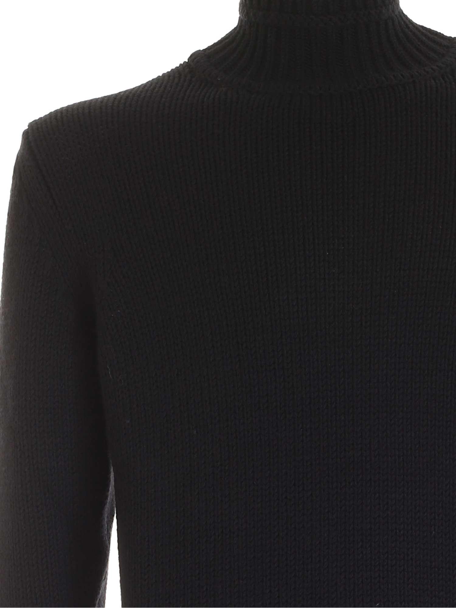 KNITTED TURTLENECK IN BLACK DONDUP | 10000016 | UT031M00725U002DU999