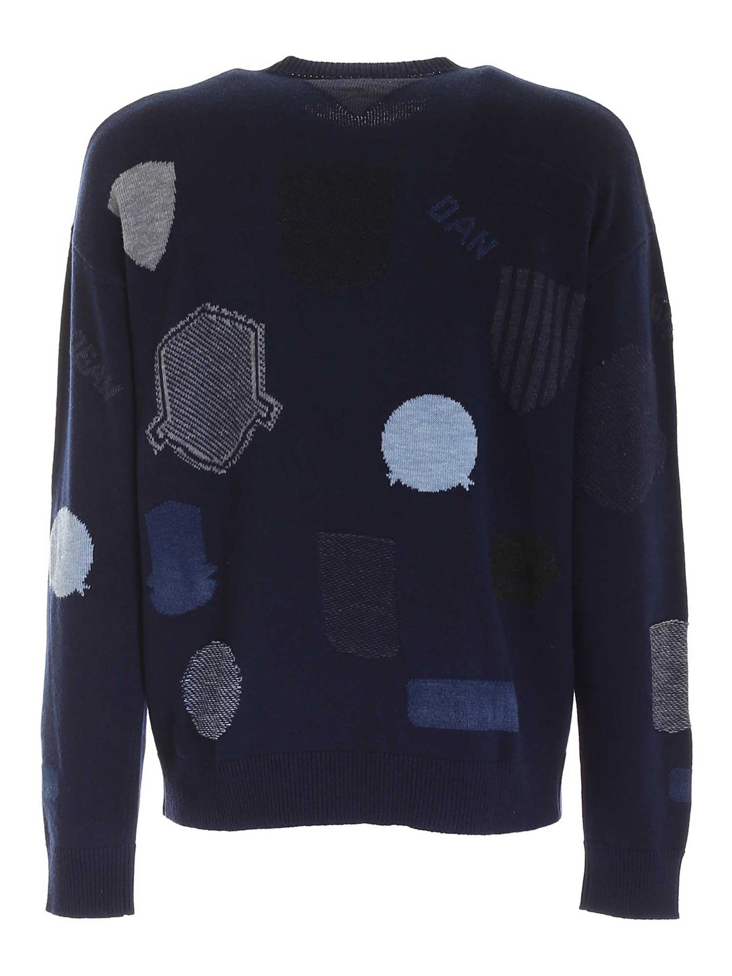 CONTRASTING INLAYS PULLOVER IN BLUE DSQUARED2 | -1384759495 | S74HA1099S17395961