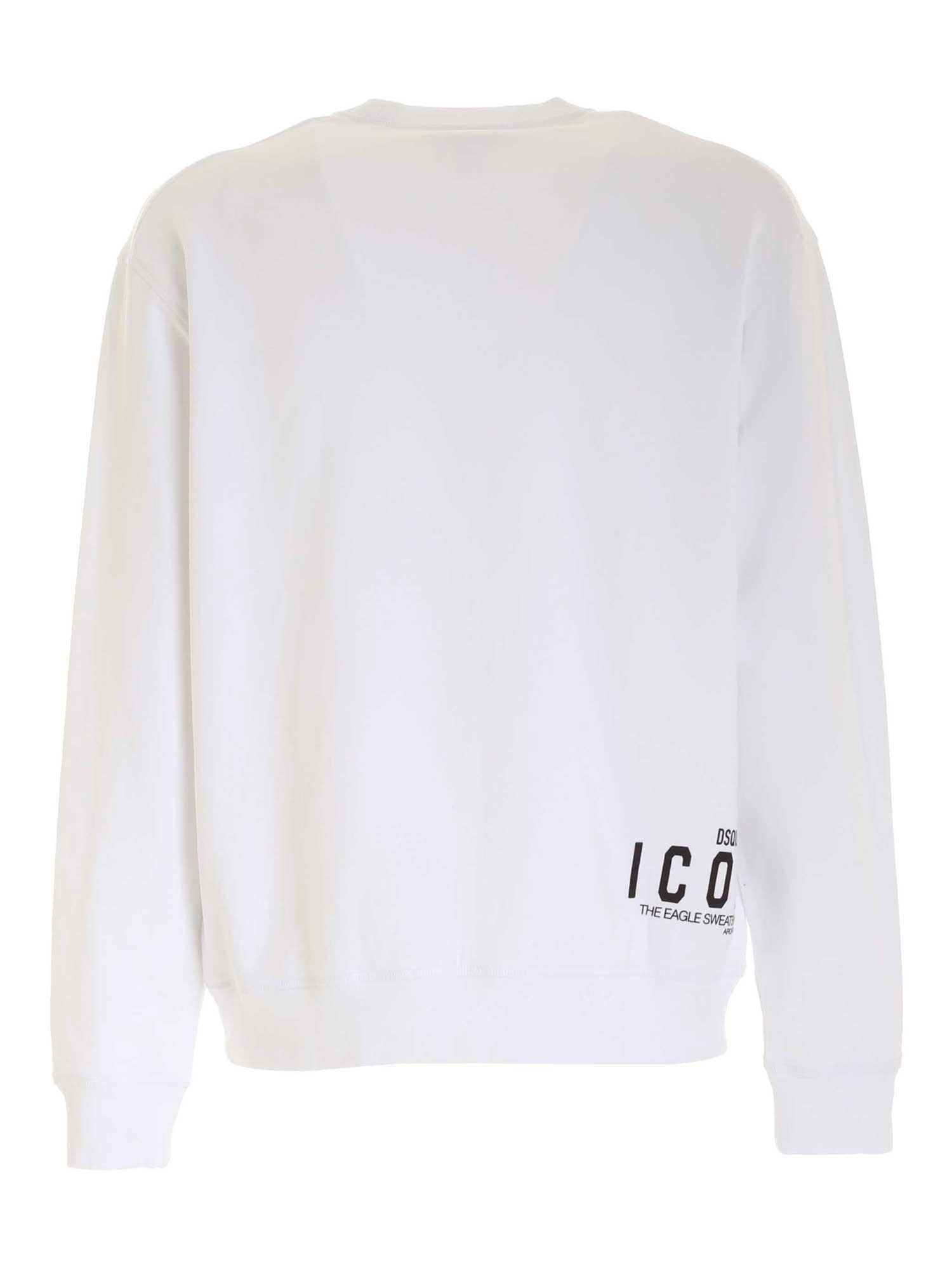 CONTRASTING PRINT SWEATSHIRT IN WHITE