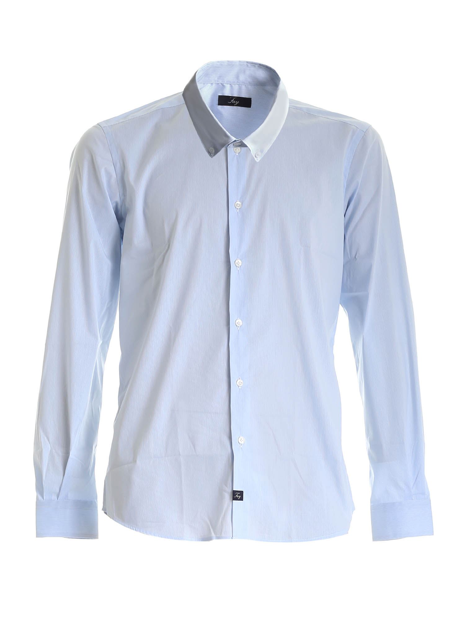 CHECKED BUTTON DOWN SHIRT WHITE AND LIGHT BLUE FAY | 6 | NCMA141258SSFQ017D
