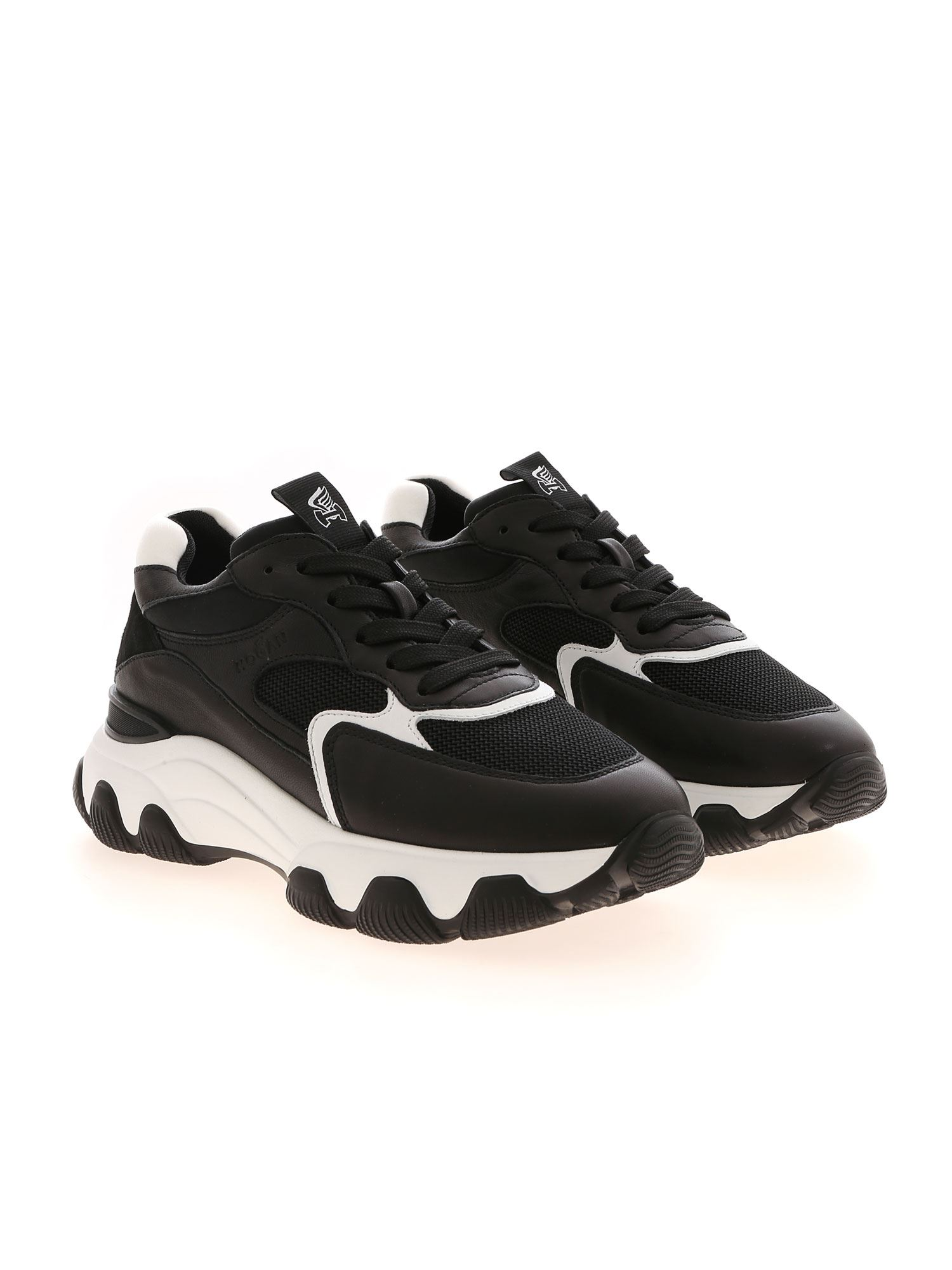 HYPERACTIVE LEATHER AND FABRIC SNEAKERS IN BLACK HOGAN | 5032238 | HXW5400DG60ONY0002