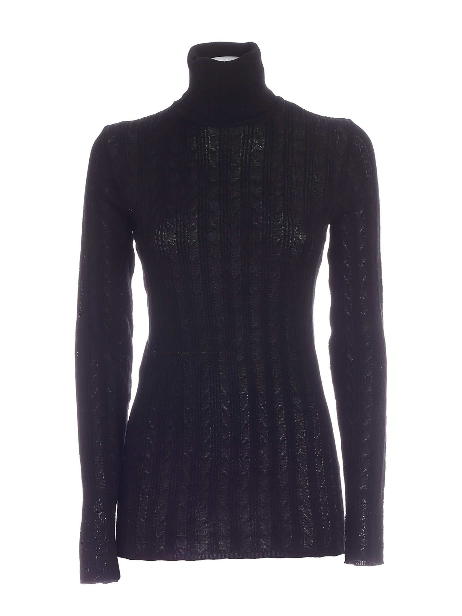 SEMI-TRANSPARENT TURTLENECK IN BLACK M MISSONI | 10000016 | 2DN002932K007893911
