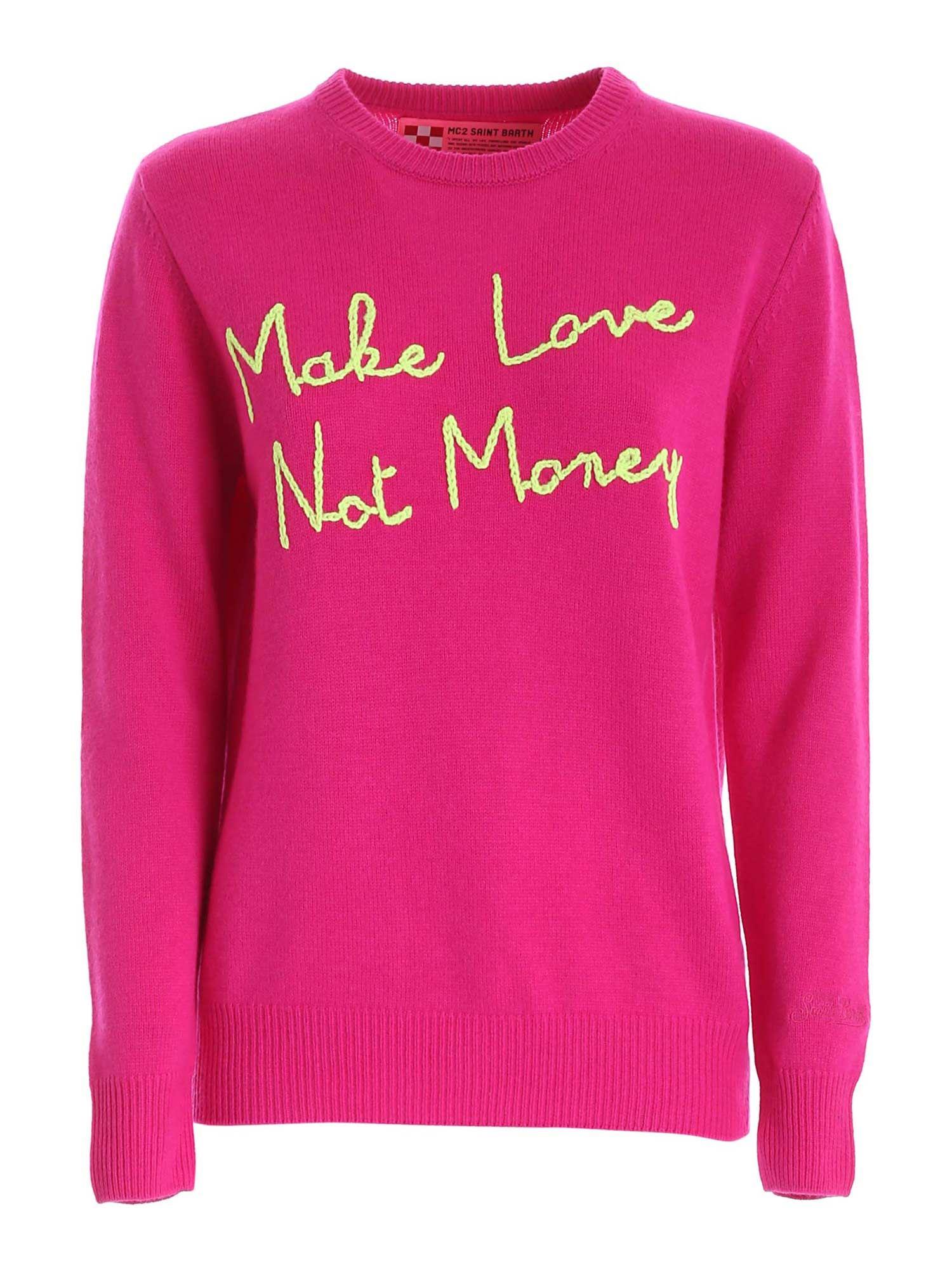 PULLOVER FUCSIA RICAMO MAKE LOVE NOT MONEY QUEENEBML79 MC2 SAINT BARTH | -1384759495 | QUEENEBML79