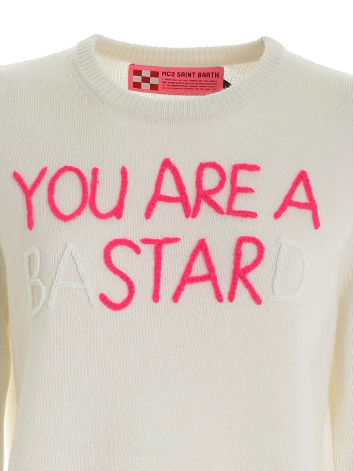 YOU ARE A BASTARD EMBROIDERY WHITE PULLOVER MC2 SAINT BARTH | -1384759495 | QUEENEMYS10