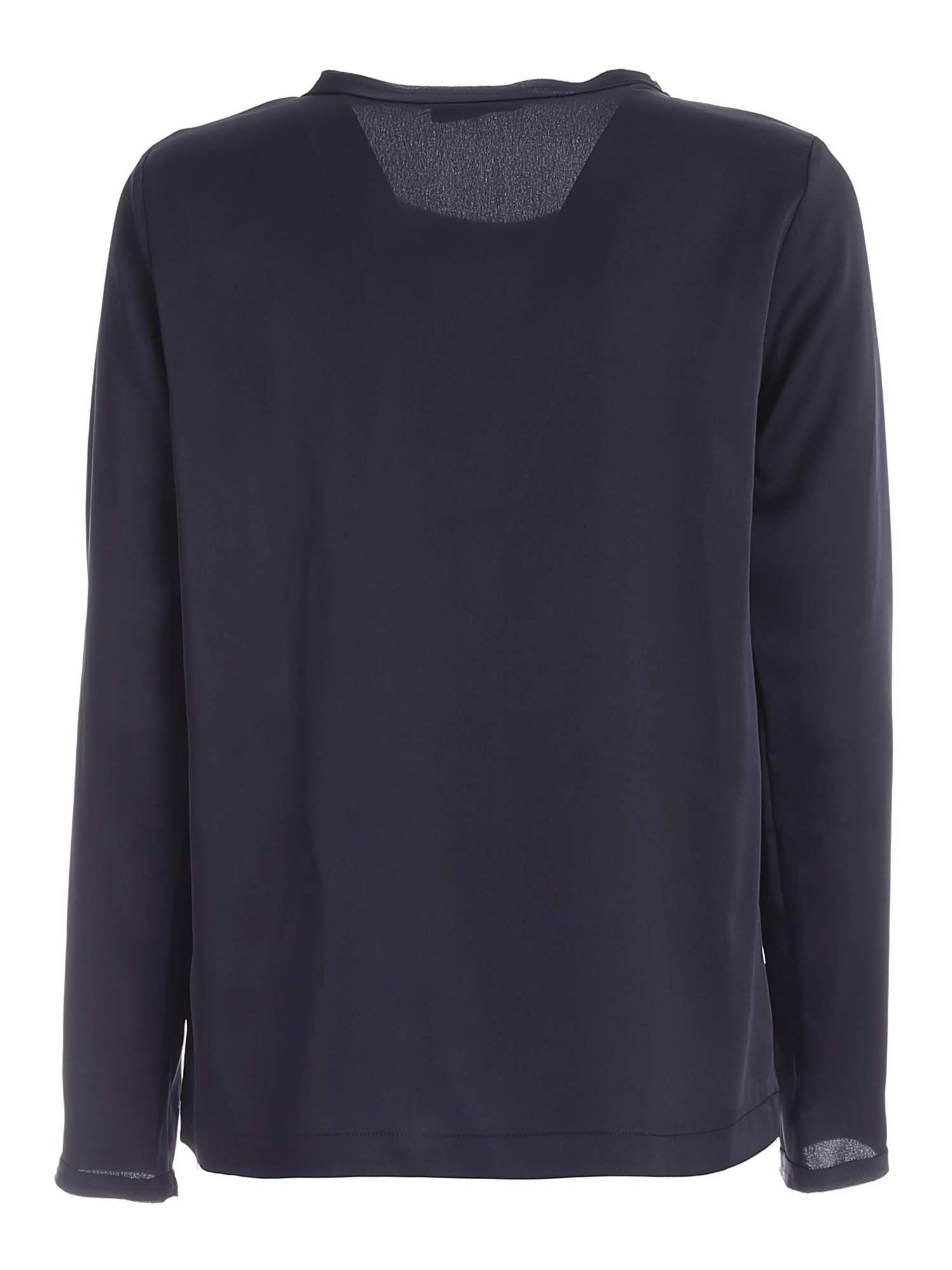 RAW CUT CREWNECK BLOUSE IN BLUE PAOLO FIORILLO CAPRI | 10000004 | 09282701NAVY