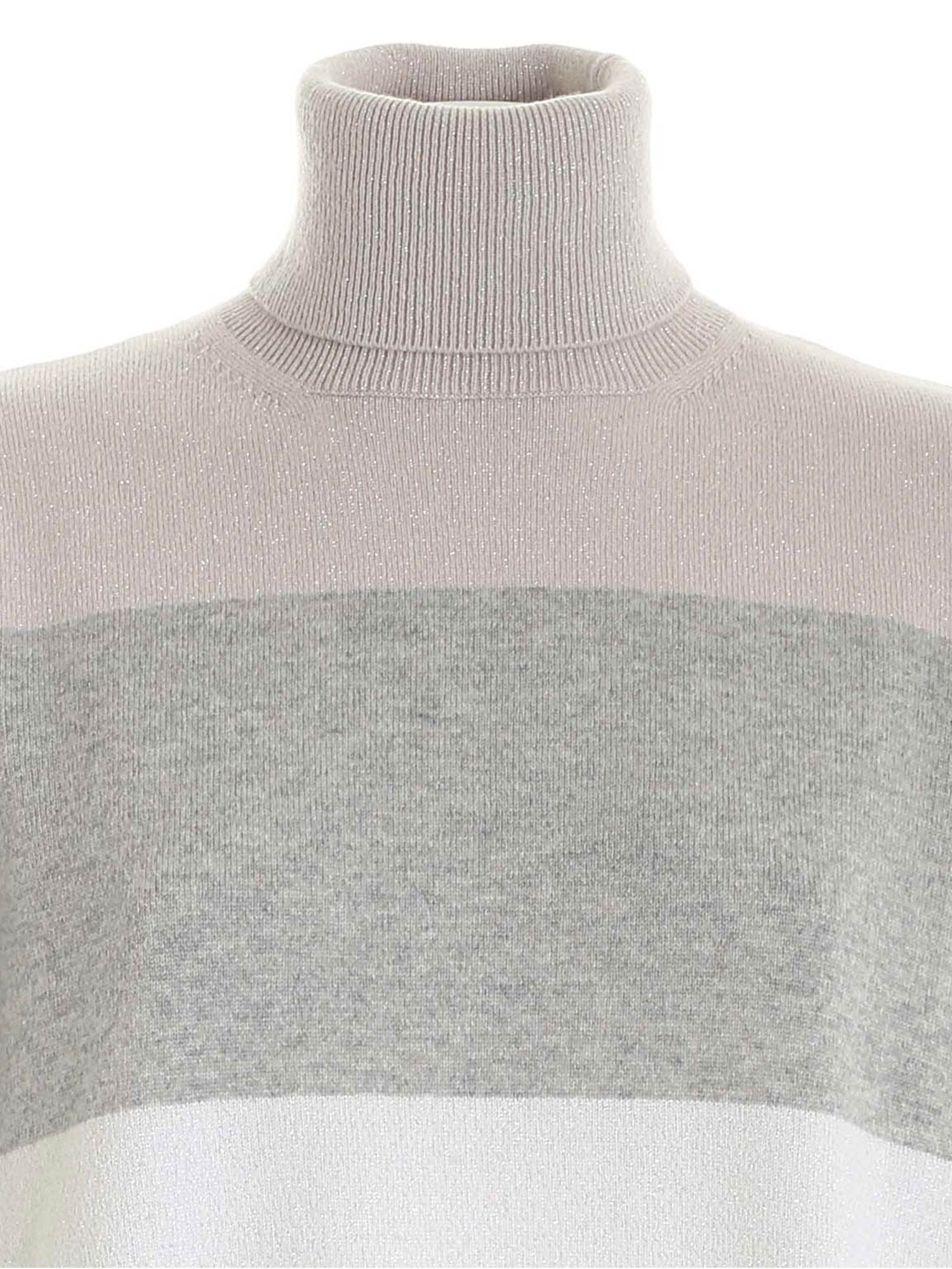 LAMÉ DETAILS TURTLENECK IN GREY PAOLO FIORILLO CAPRI | 10000016 | 15310500029