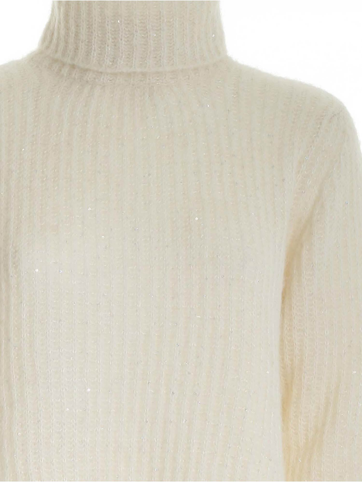 SEQUINS TURTLENECK IN WHITE PAOLO FIORILLO CAPRI | 10000016 | 17420500010