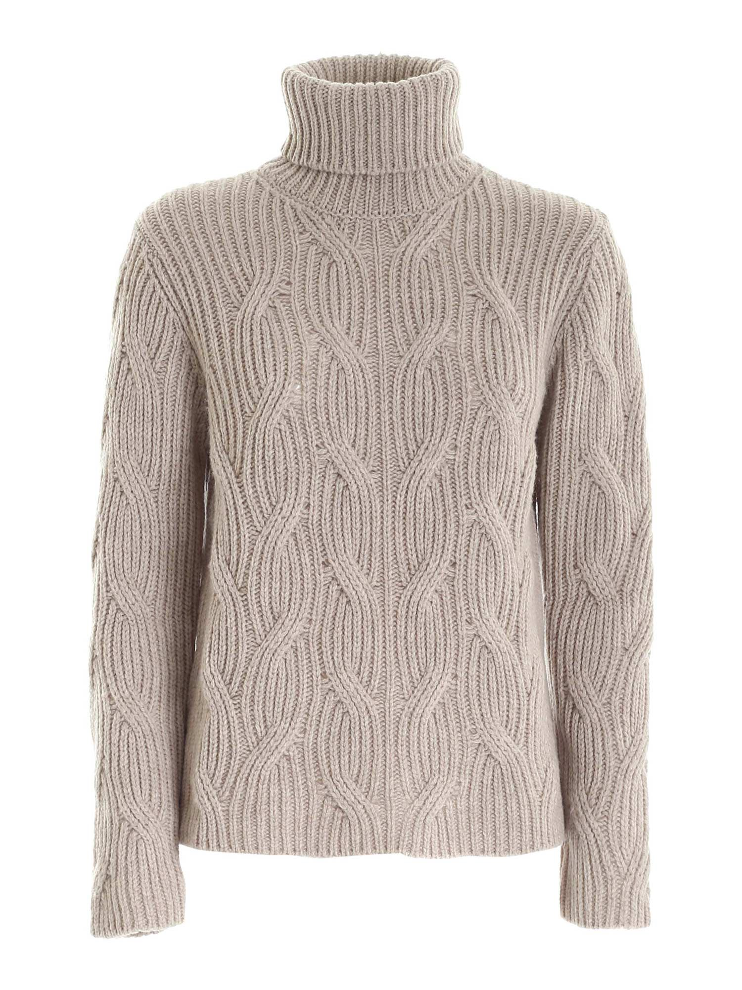 CABLE KNITTING TURTLENECK IN BEIGE PAOLO FIORILLO CAPRI | 10000016 | 18000500011
