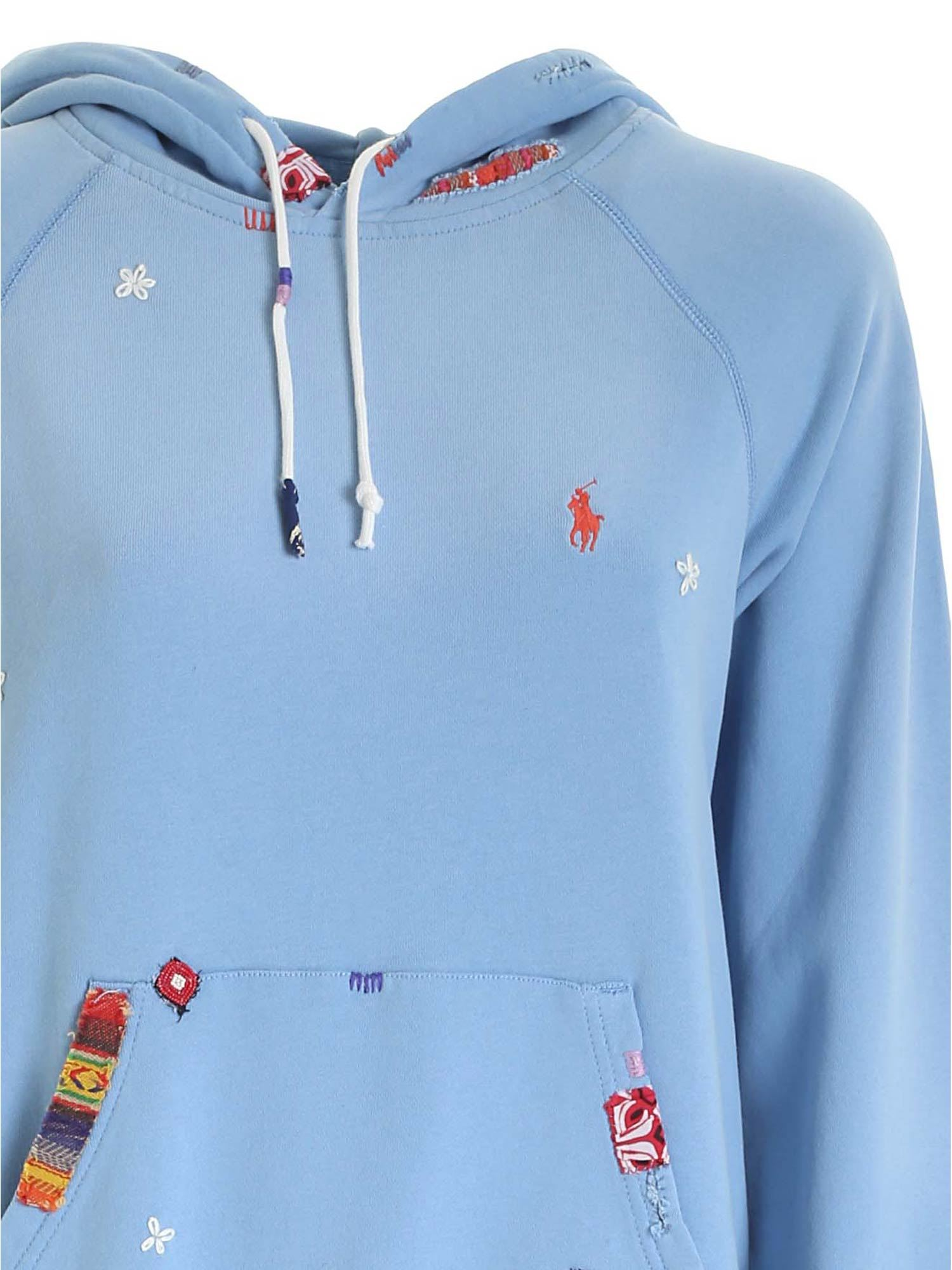 EMBROIDERY AND PATCH SWEATSHIRT IN LIGHT BLUE POLO RALPH LAUREN   -108764232   211800344001