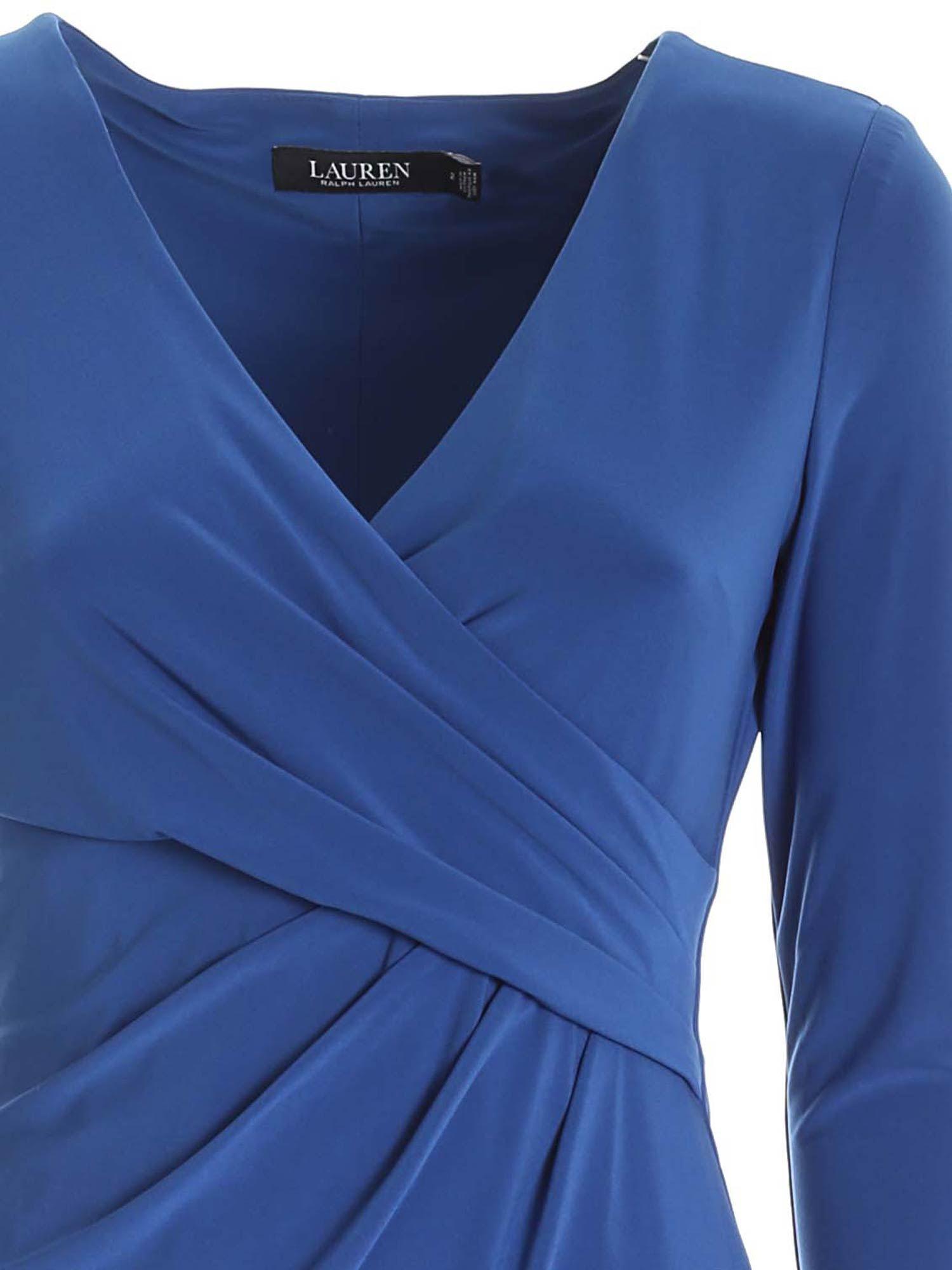 CROSSED V-NECK DRESS IN BLUE POLO RALPH LAUREN | 11 | 250768183015
