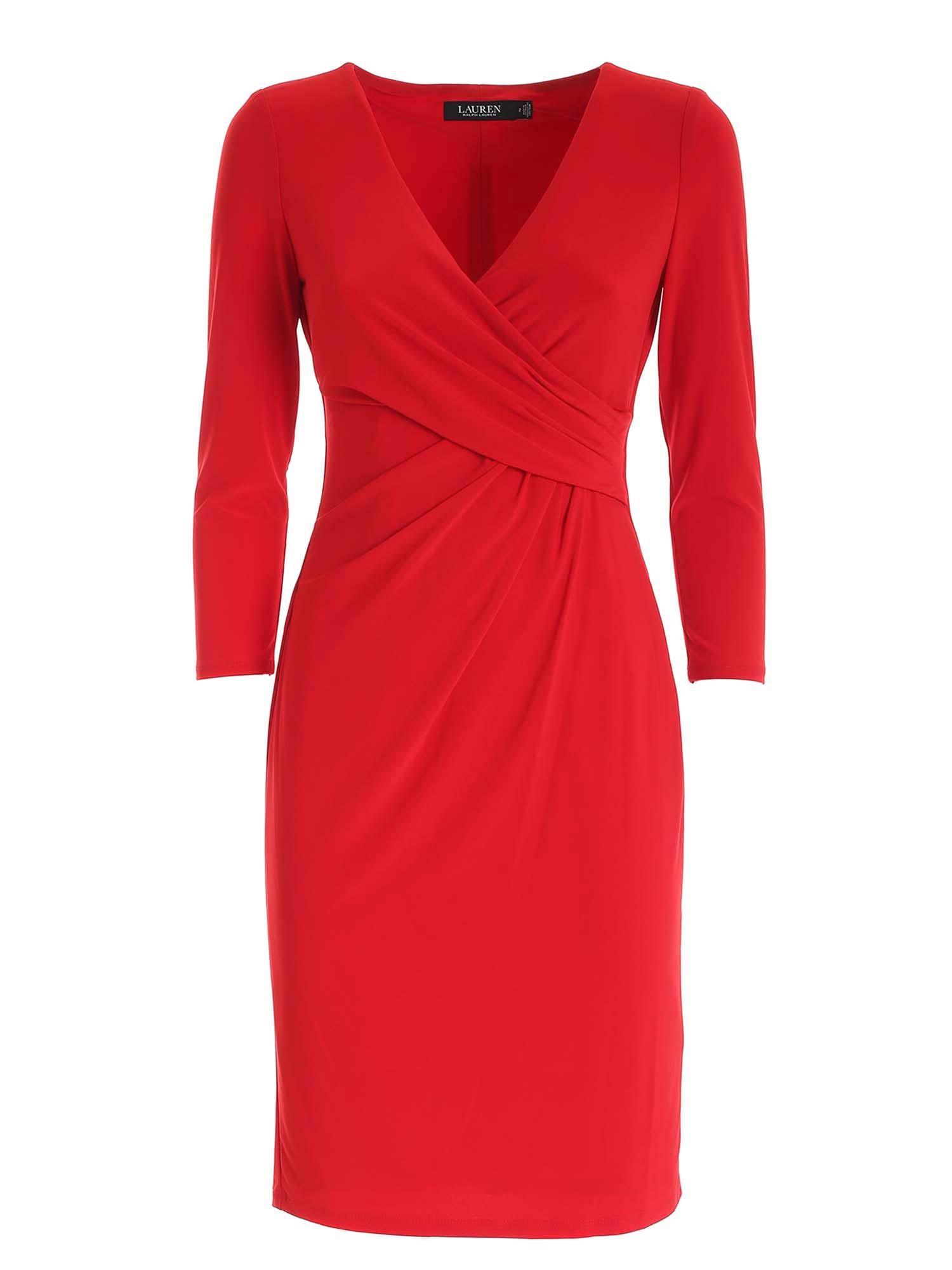 CROSSOVER V-NECK DRESS IN RED POLO RALPH LAUREN | 11 | 250768183018