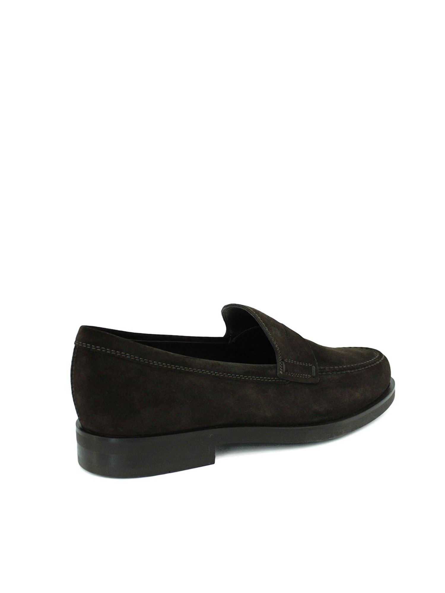 PENNY BAR SUEDE LOAFERS IN BROWN TOD
