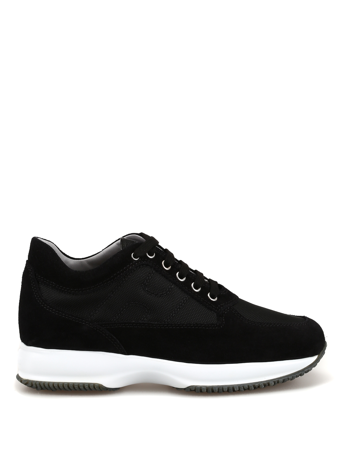 Interactive black suede and fabric sneakers
