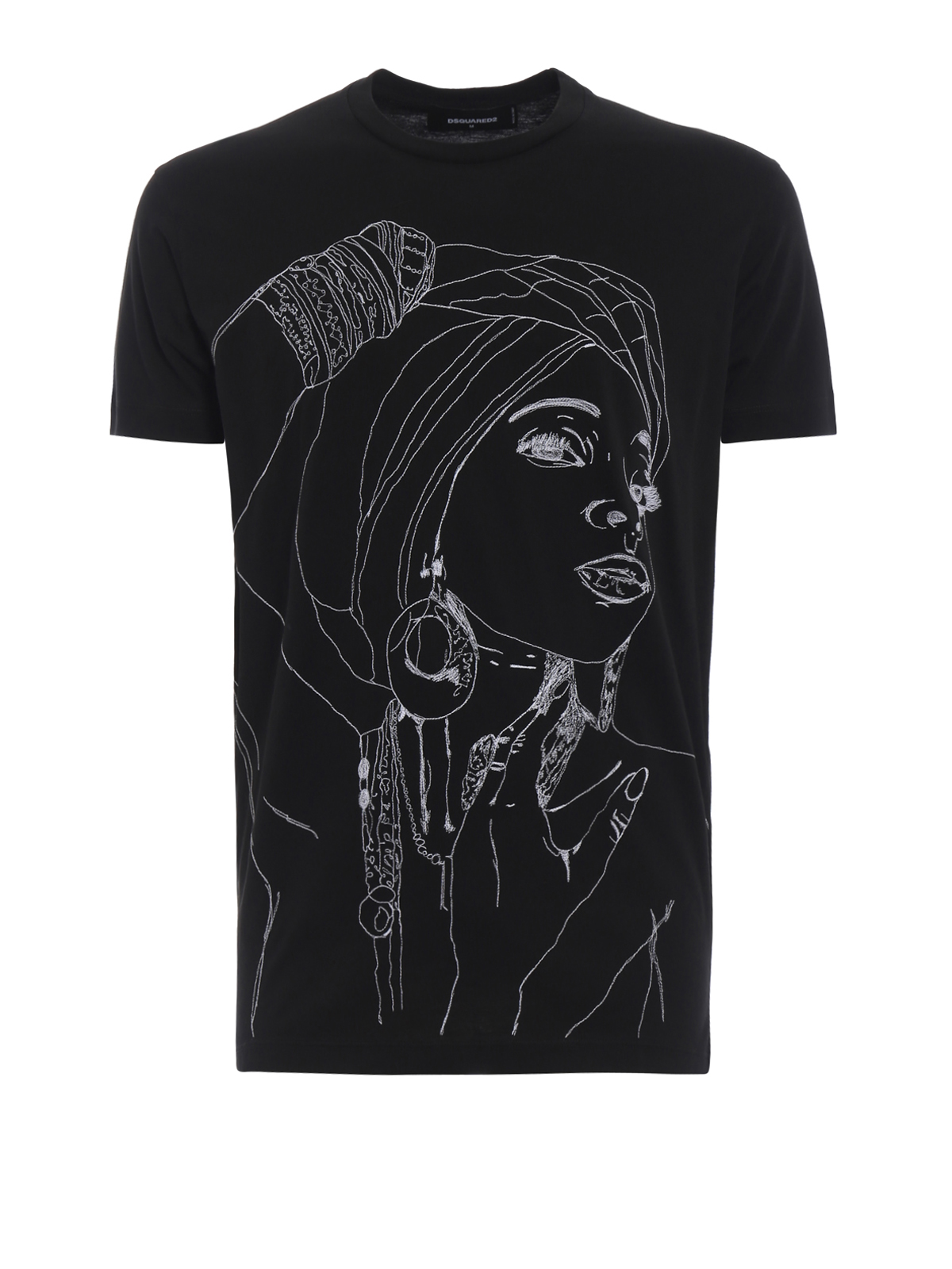 Sketch effect embroidered black Tee - DSQUARED2 - Paolo Fiorillo e5cf24ee9bff3