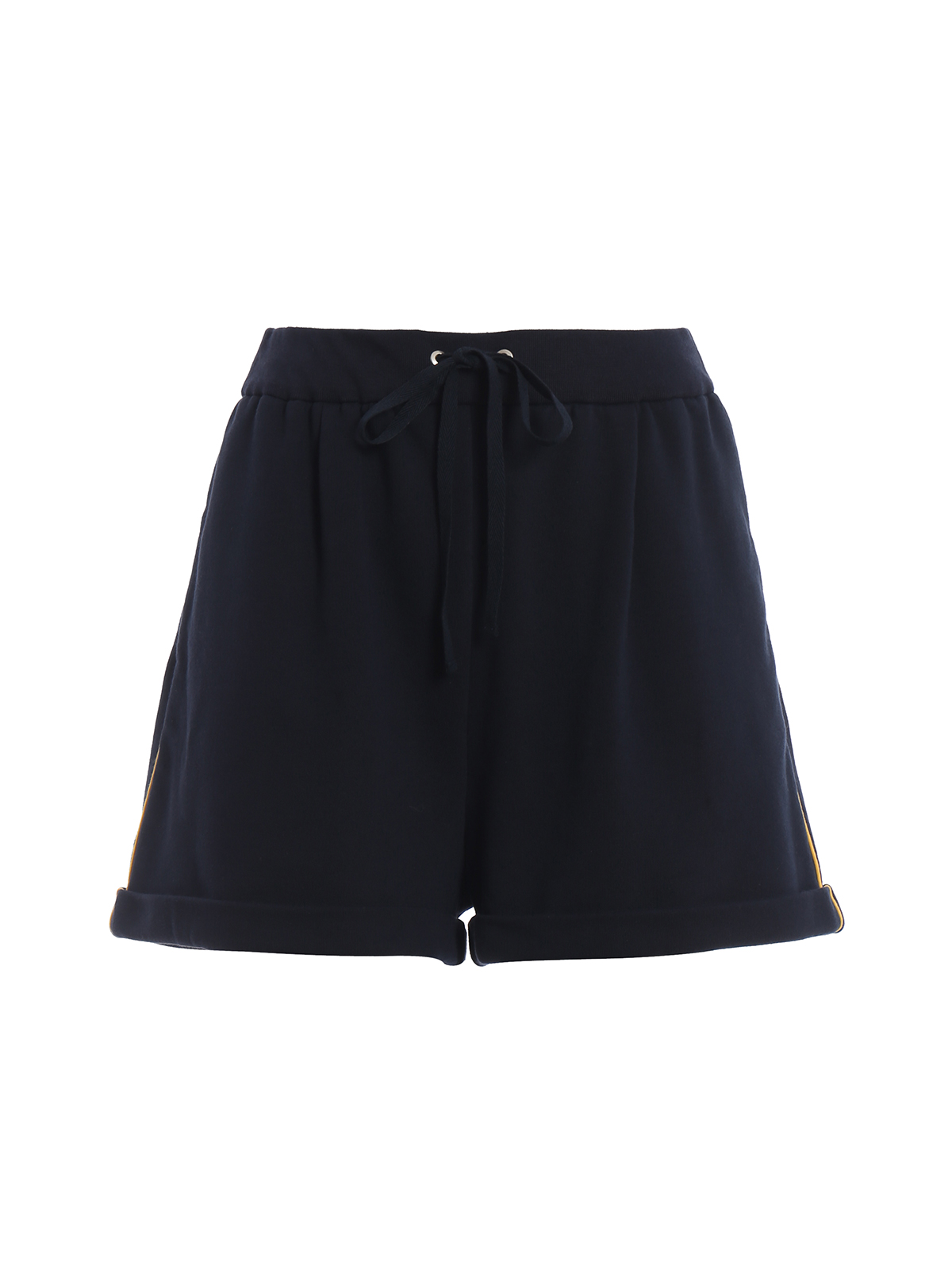 Cotton fleece navy blue short pants J03271676290