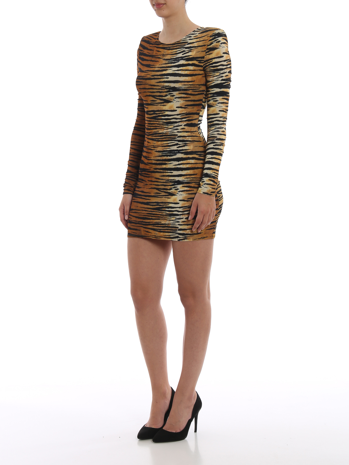 Animal print viscose blend dress