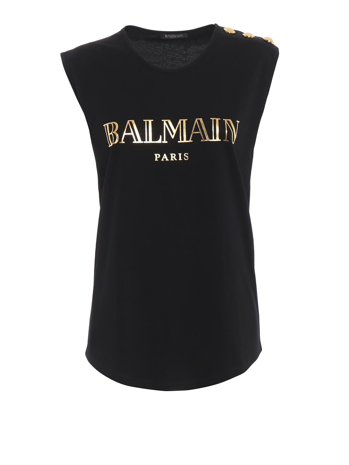 1c0c6193 Logo print black cotton tank top RF01162I170EAD - BALMAIN - Paolo ...