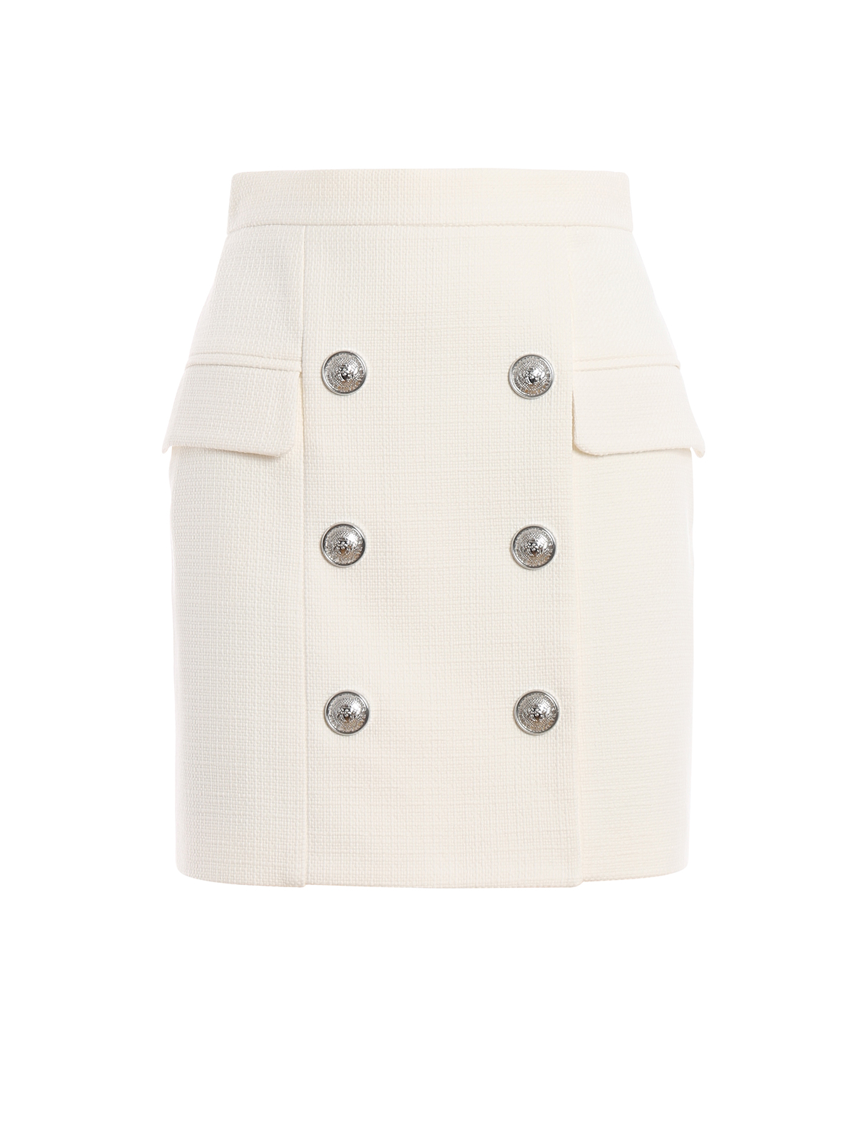 cc9d8698a5 White natte cotton high waist mini skirt - BALMAIN - Paolo Fiorillo