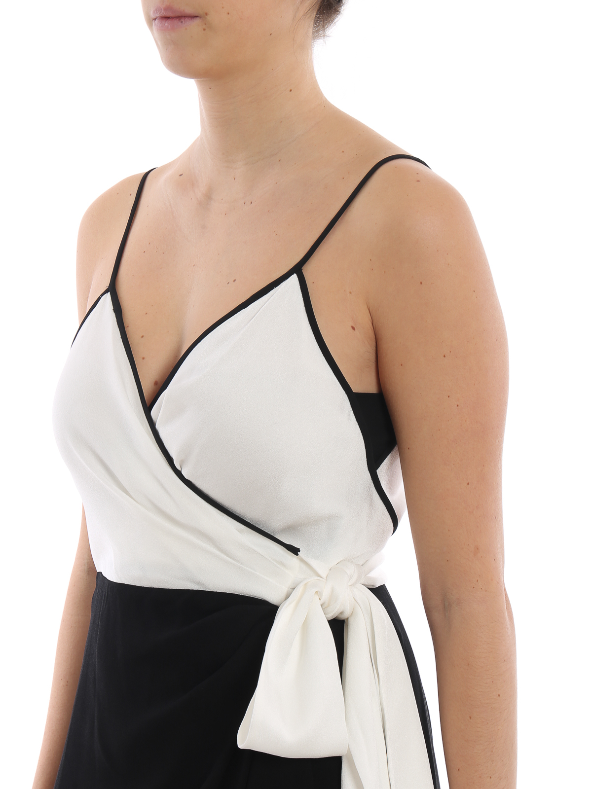 Avila black and white crepe wrap dress DIANE VON FURSTENBERG | 11 | 12352IVBK