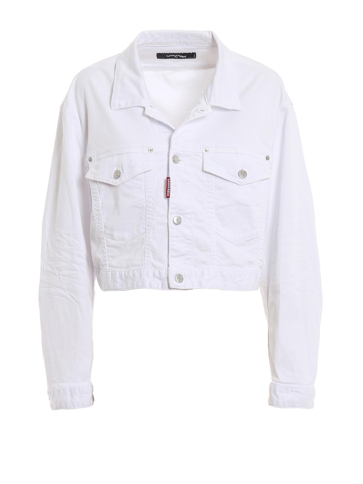 d9432b7cef5a5 White cotton denim cropped jacket - DSQUARED2 - Paolo Fiorillo