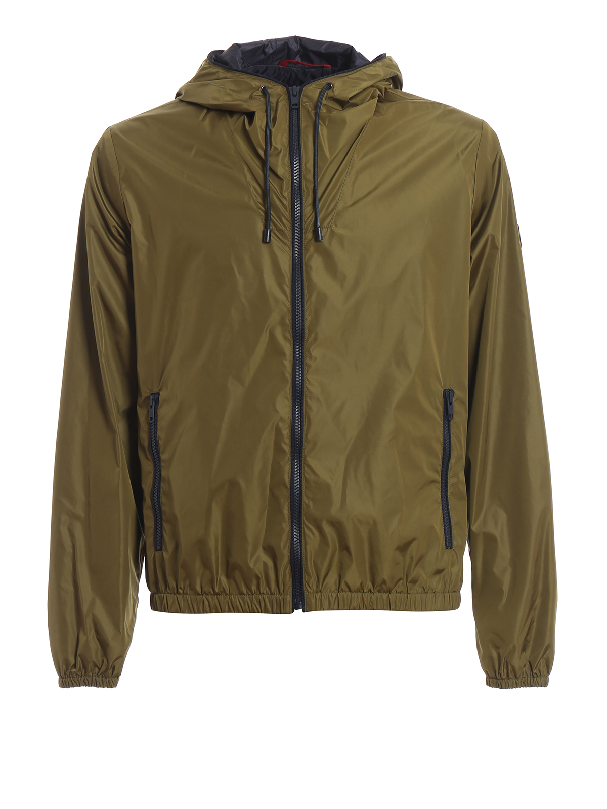 Olive green glossy nylon hooded windbreaker