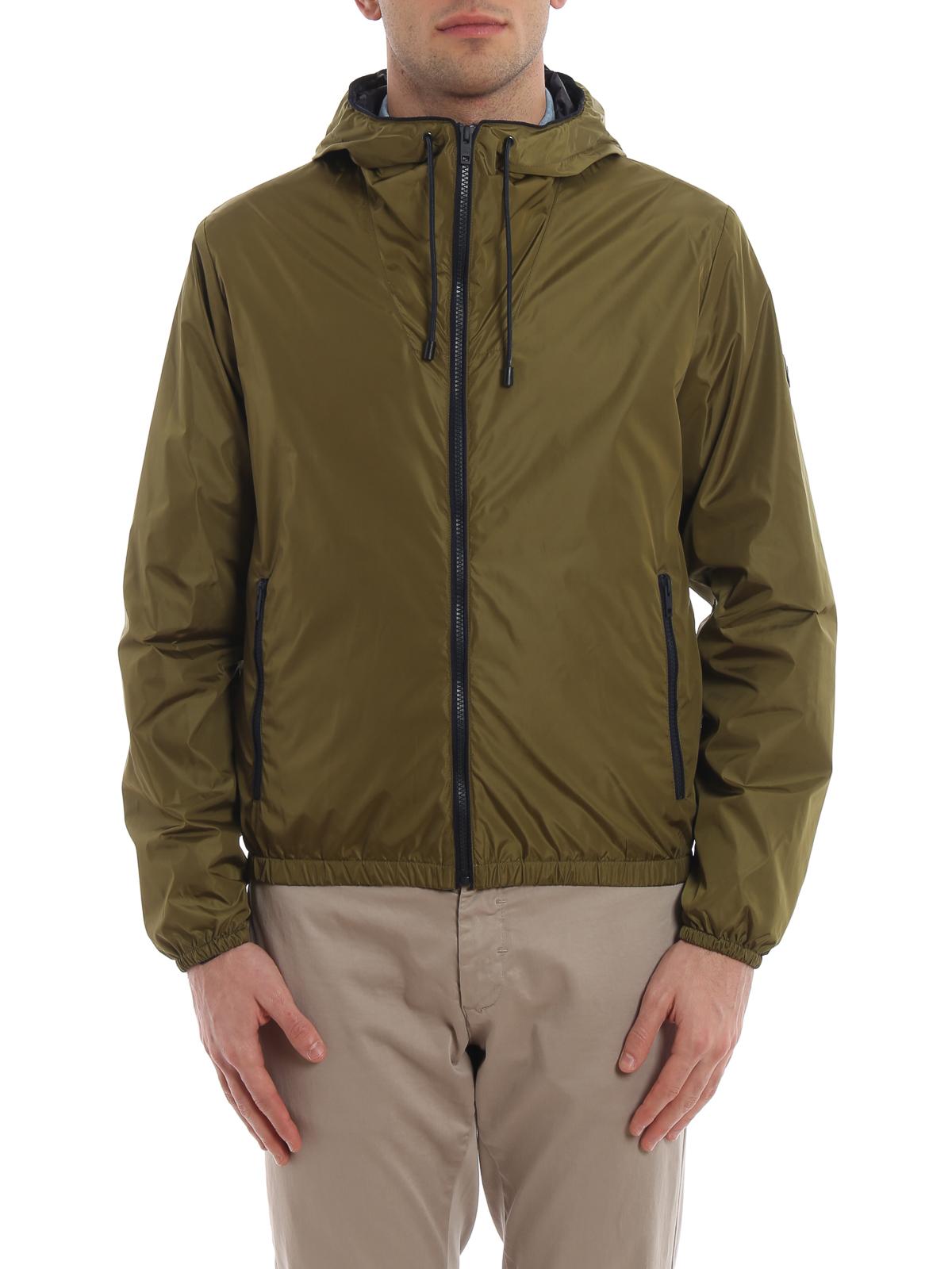 Olive green glossy nylon hooded windbreaker FAY | 3 | NAM12380490PFWV605