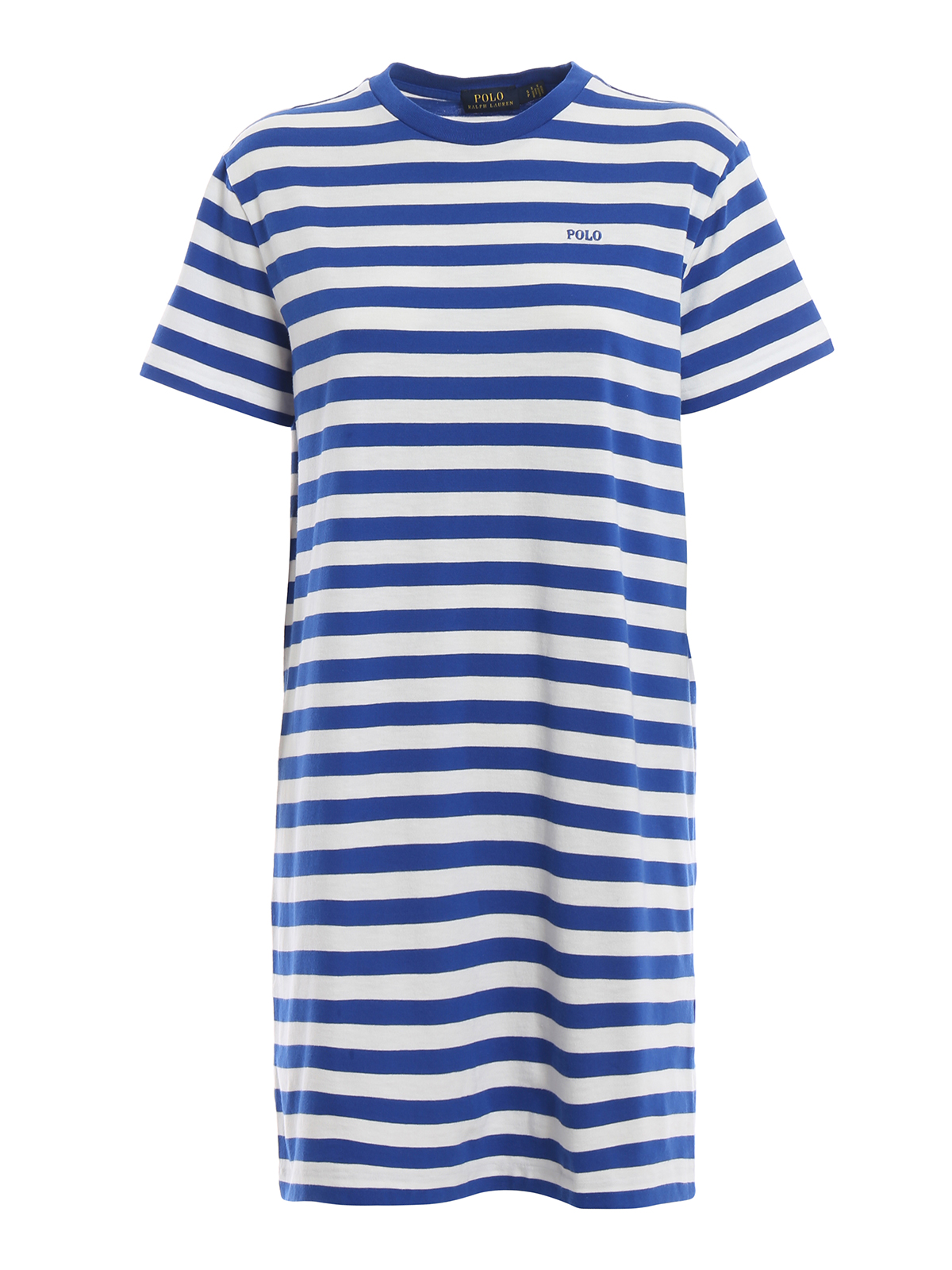 Striped logo embroidery cotton dress<br>