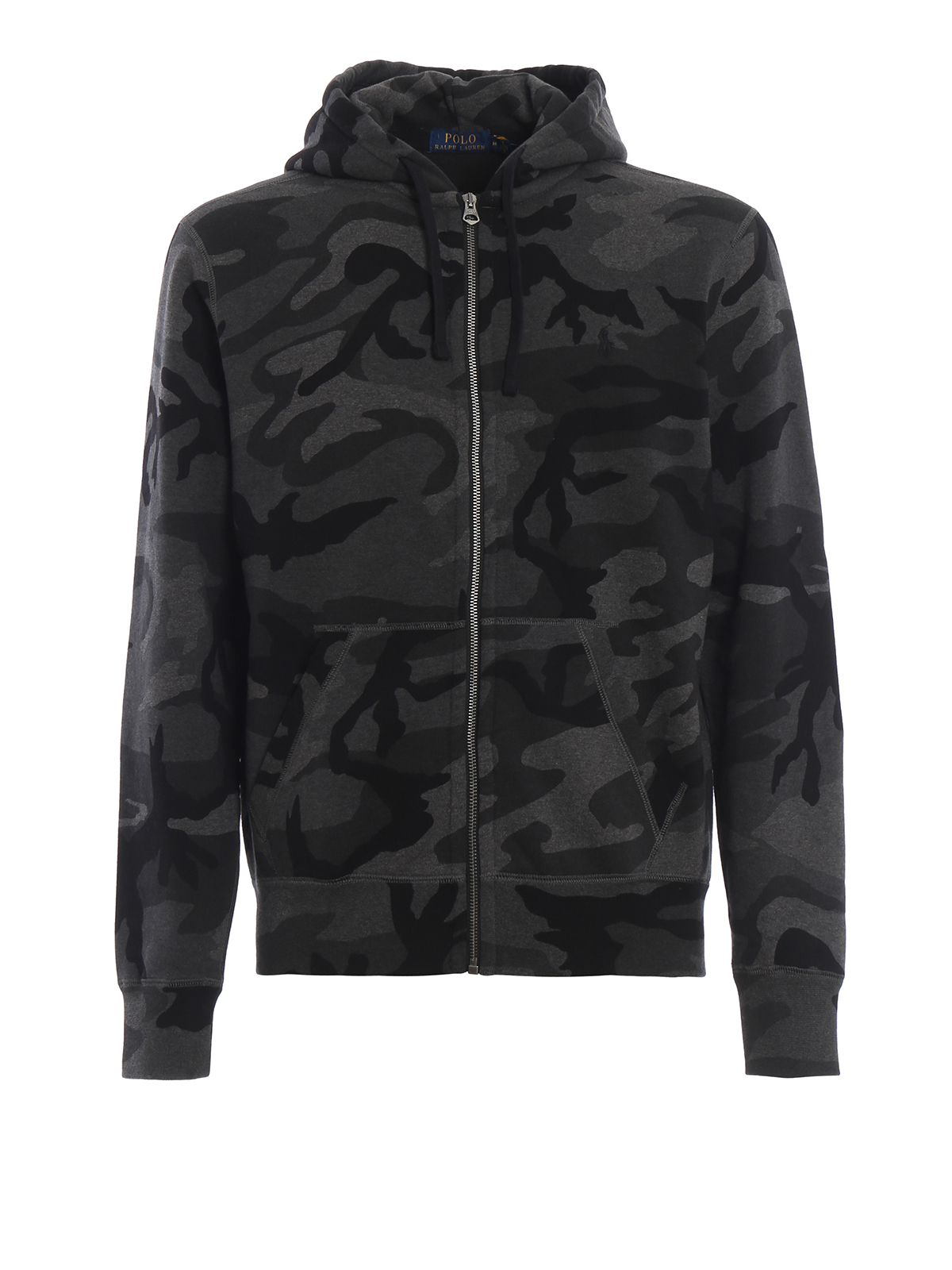 Stretch cotton camouflage hoodie
